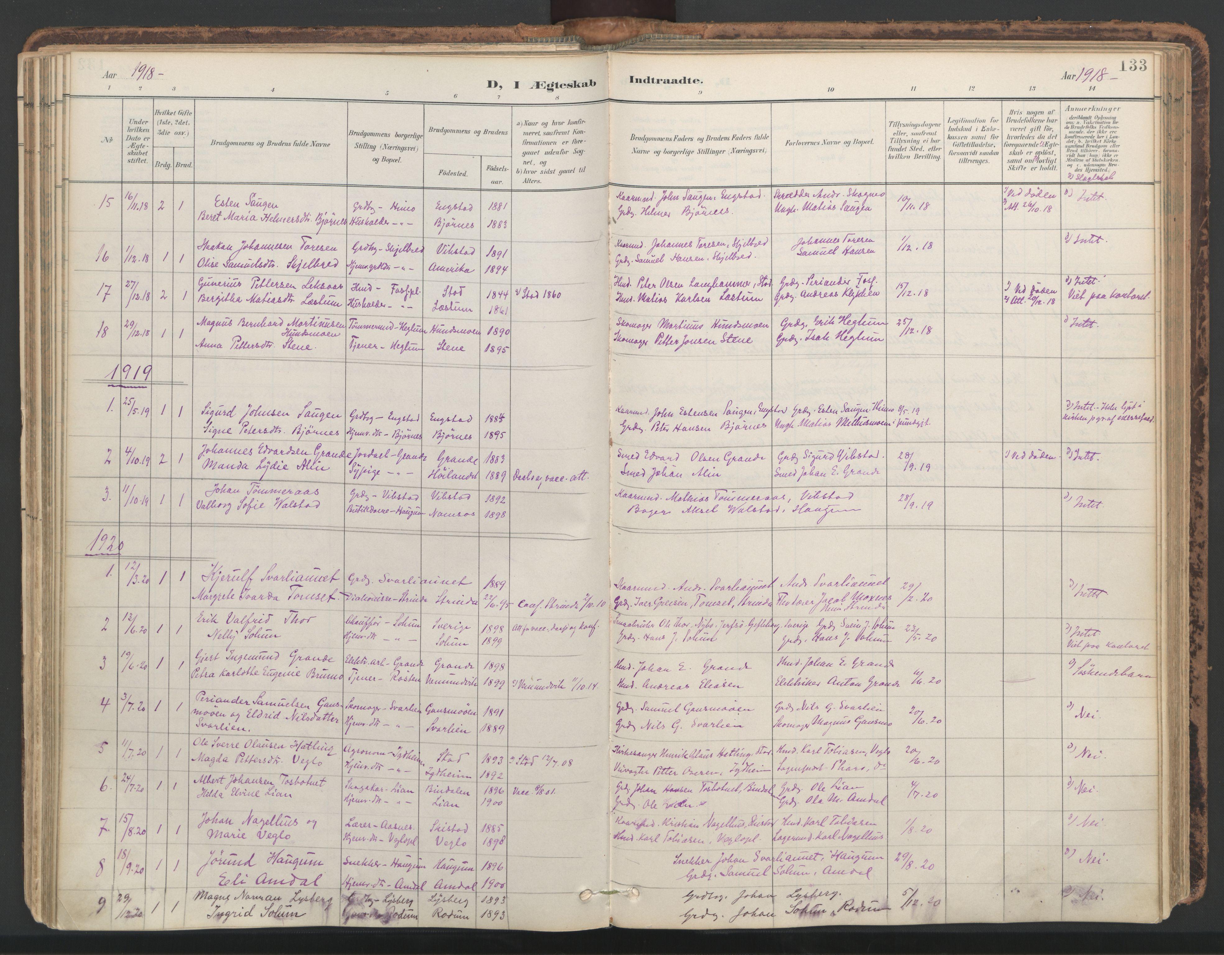 SAT, Ministerialprotokoller, klokkerbøker og fødselsregistre - Nord-Trøndelag, 764/L0556: Ministerialbok nr. 764A11, 1897-1924, s. 133