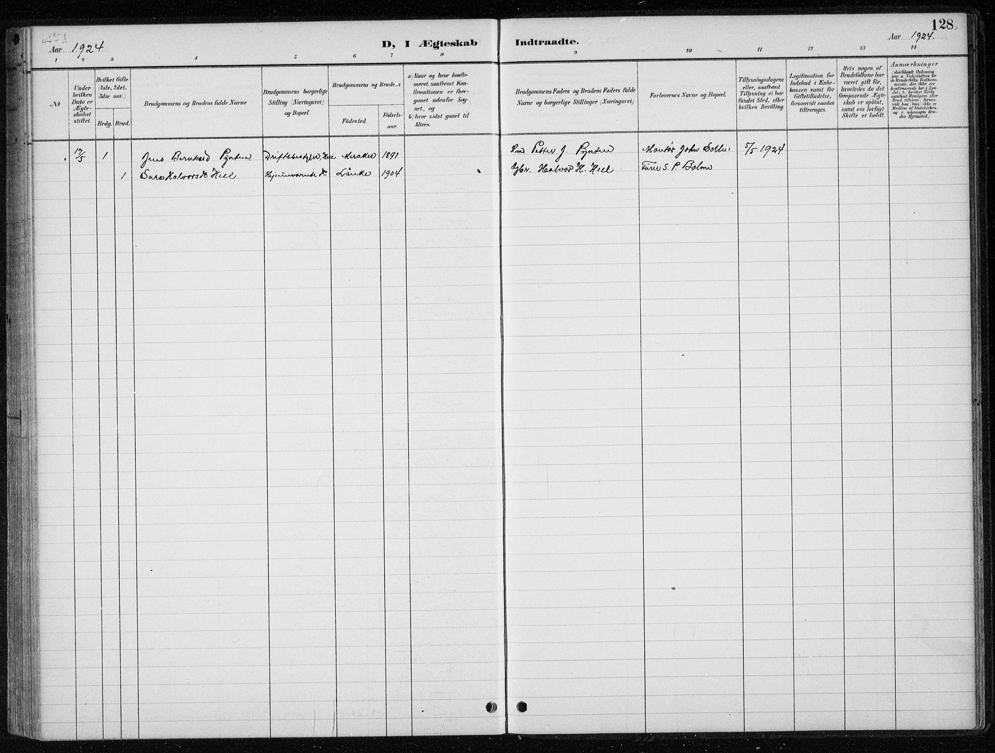 SAT, Ministerialprotokoller, klokkerbøker og fødselsregistre - Nord-Trøndelag, 710/L0096: Klokkerbok nr. 710C01, 1892-1925, s. 128