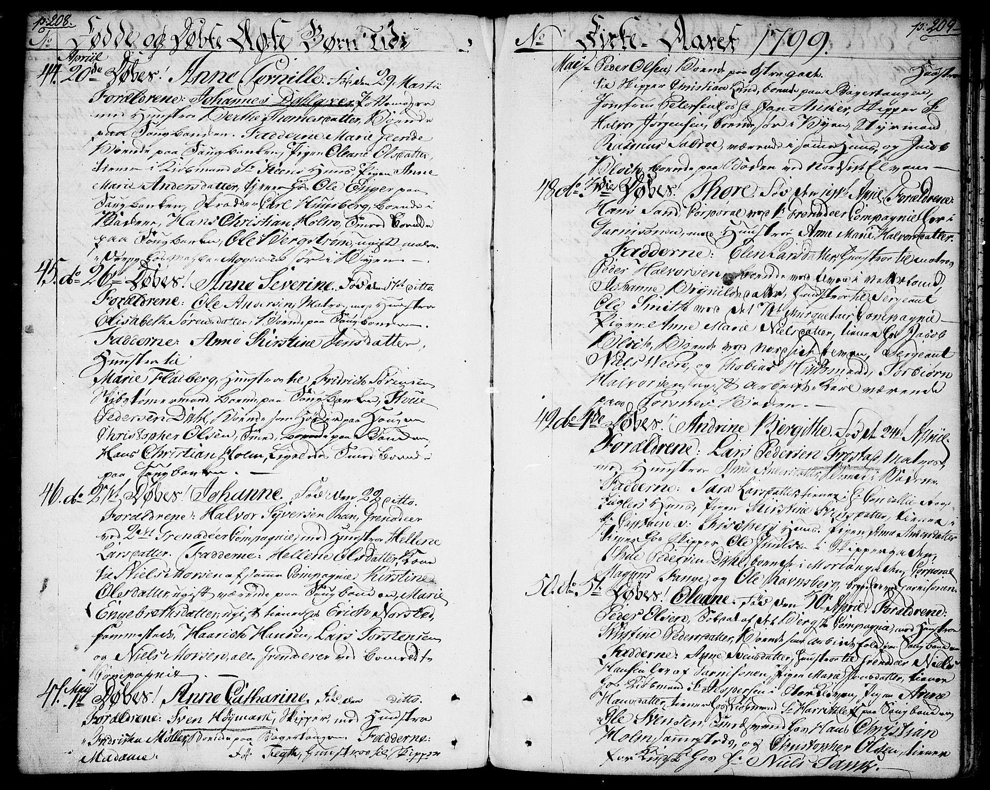 SAO, Halden prestekontor Kirkebøker, F/Fa/L0002: Ministerialbok nr. I 2, 1792-1812, s. 208-209
