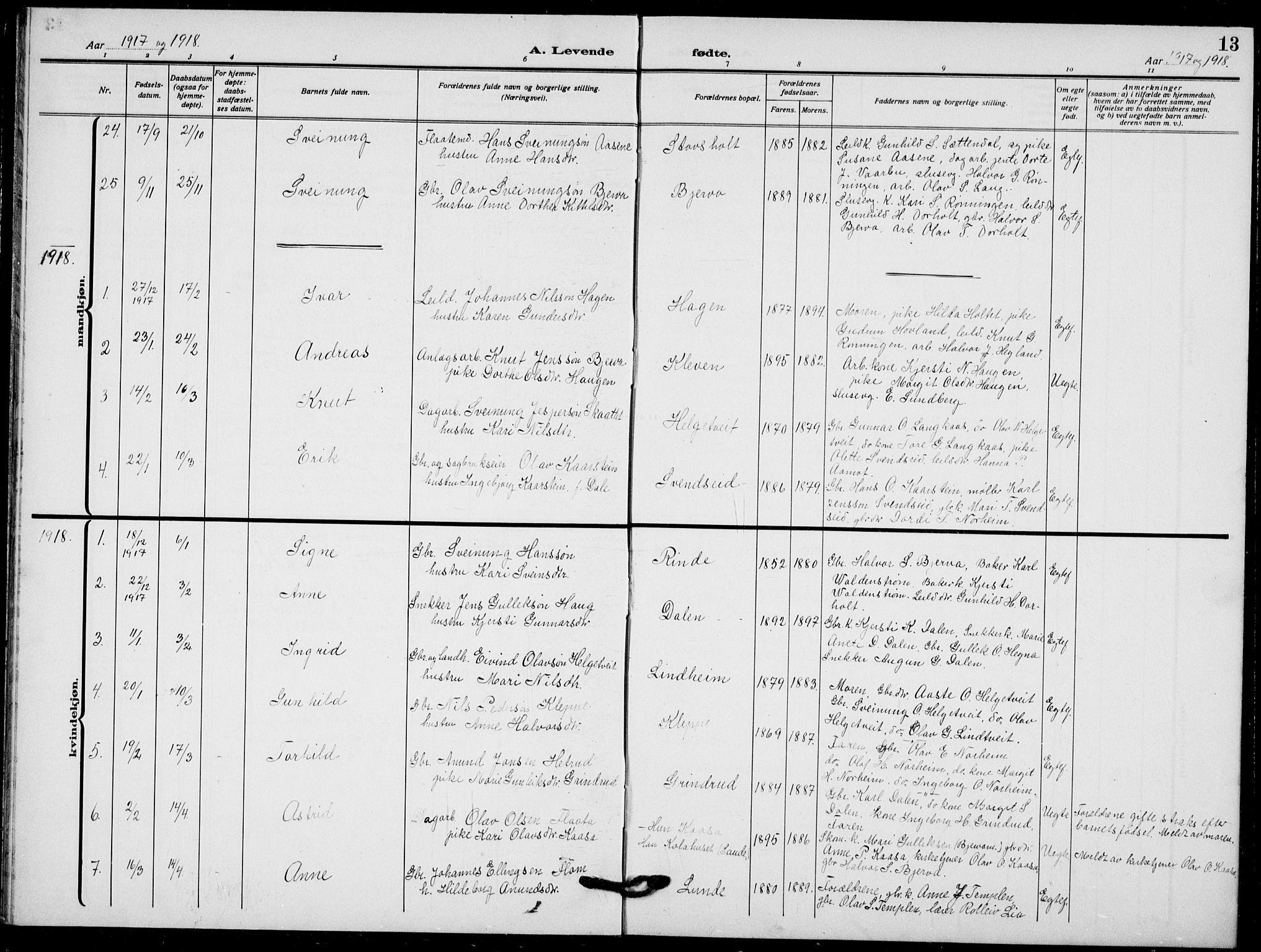 SAKO, Lunde kirkebøker, F/Fa/L0005: Ministerialbok nr. I 5, 1914-1922, s. 13