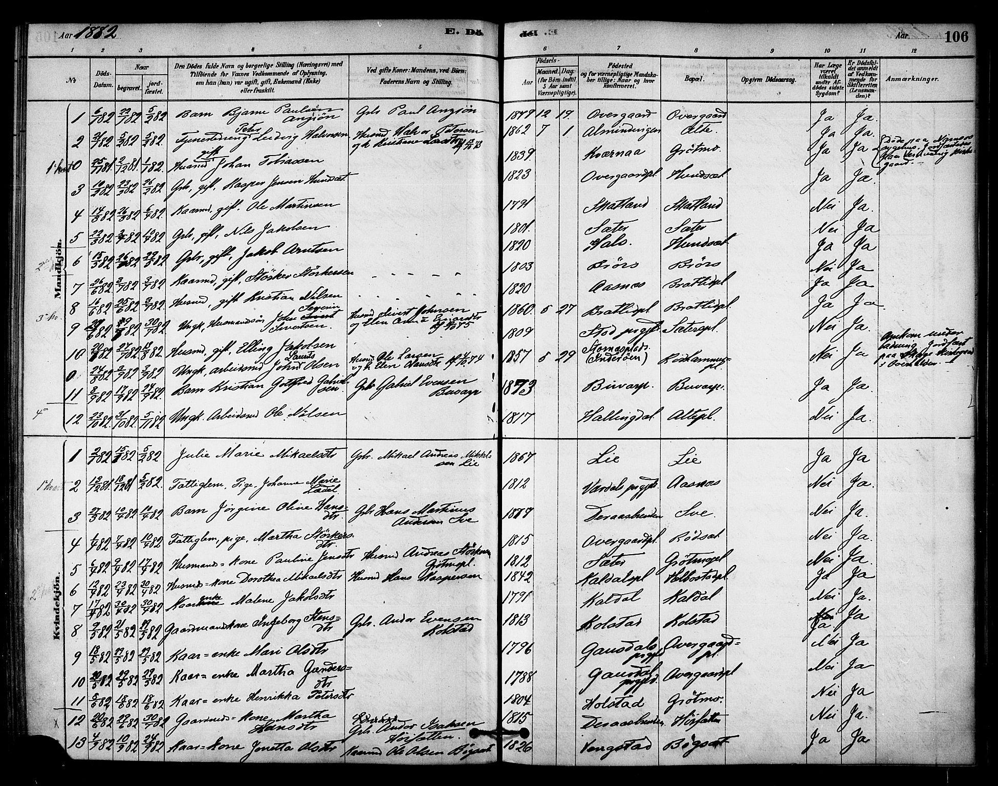 SAT, Ministerialprotokoller, klokkerbøker og fødselsregistre - Nord-Trøndelag, 742/L0408: Ministerialbok nr. 742A01, 1878-1890, s. 106