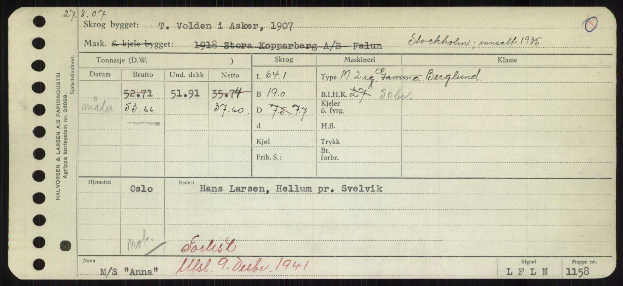 RA, Sjøfartsdirektoratet med forløpere, Skipsmålingen, H/Hd/L0001: Fartøy, A-Anv, s. 667