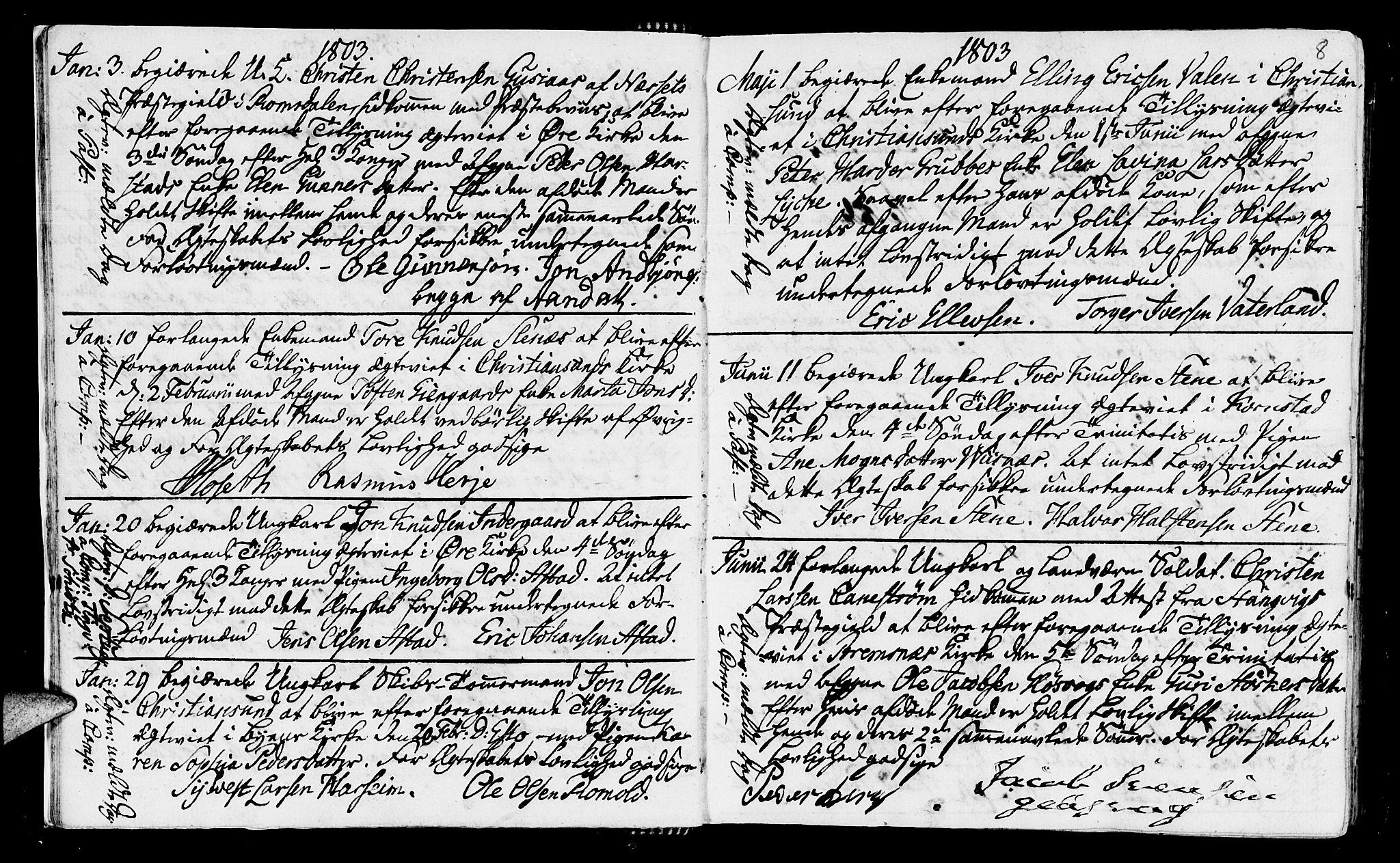 SAT, Ministerialprotokoller, klokkerbøker og fødselsregistre - Møre og Romsdal, 568/L0795: Ministerialbok nr. 568A04, 1802-1845, s. 8