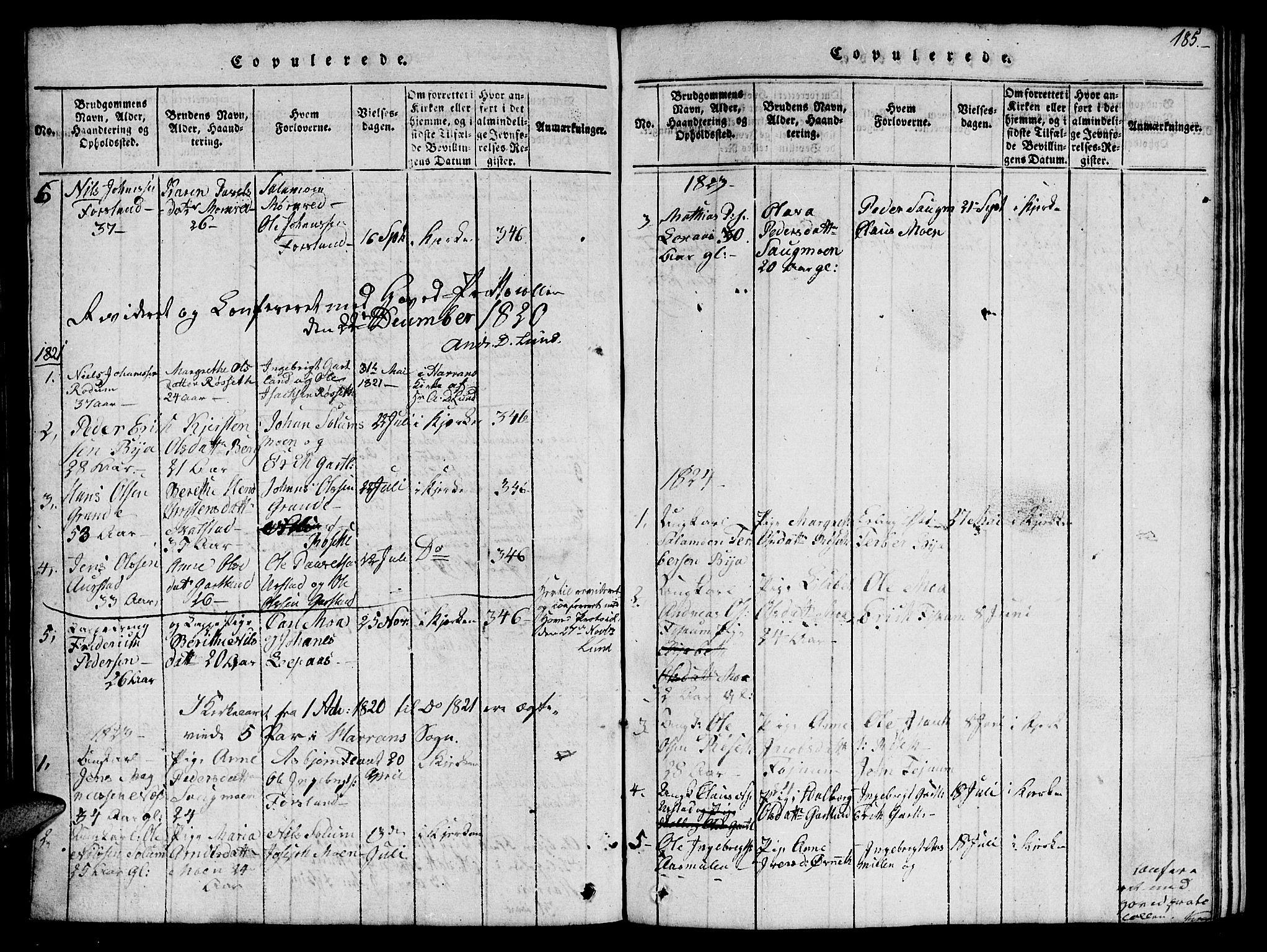 SAT, Ministerialprotokoller, klokkerbøker og fødselsregistre - Nord-Trøndelag, 759/L0527: Klokkerbok nr. 759C01 /1, 1816-1825, s. 185