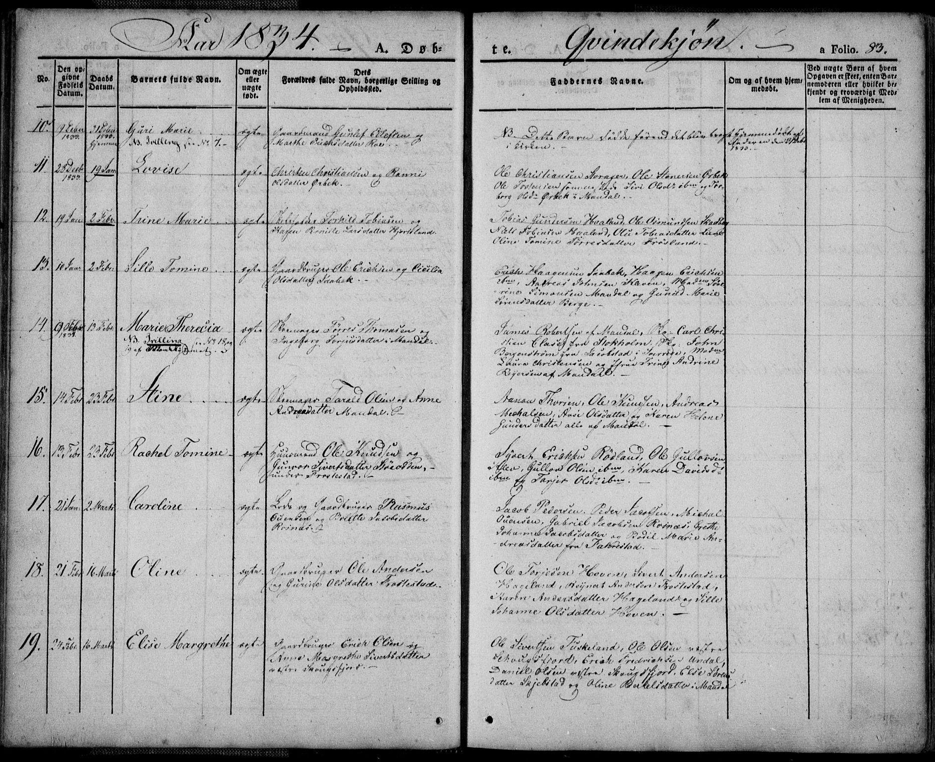 SAK, Mandal sokneprestkontor, F/Fa/Faa/L0011: Ministerialbok nr. A 11, 1830-1839, s. 83