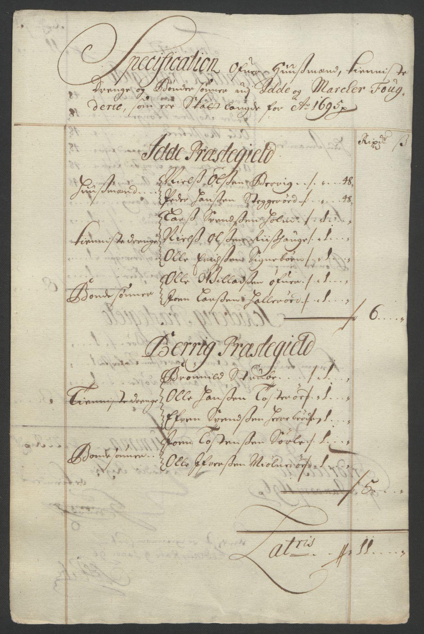 RA, Rentekammeret inntil 1814, Reviderte regnskaper, Fogderegnskap, R01/L0012: Fogderegnskap Idd og Marker, 1694-1695, s. 229