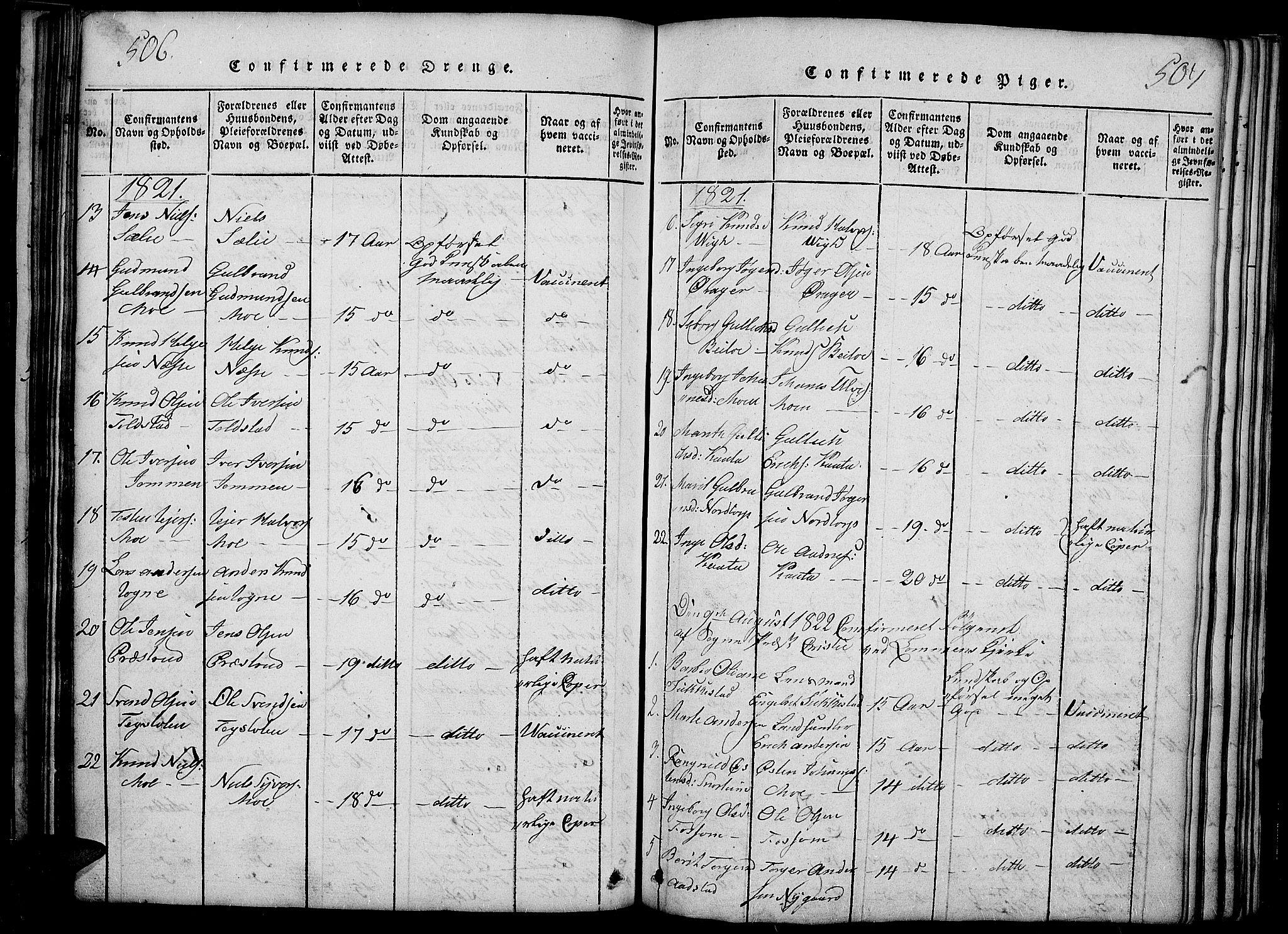 SAH, Slidre prestekontor, Ministerialbok nr. 2, 1814-1830, s. 506-507