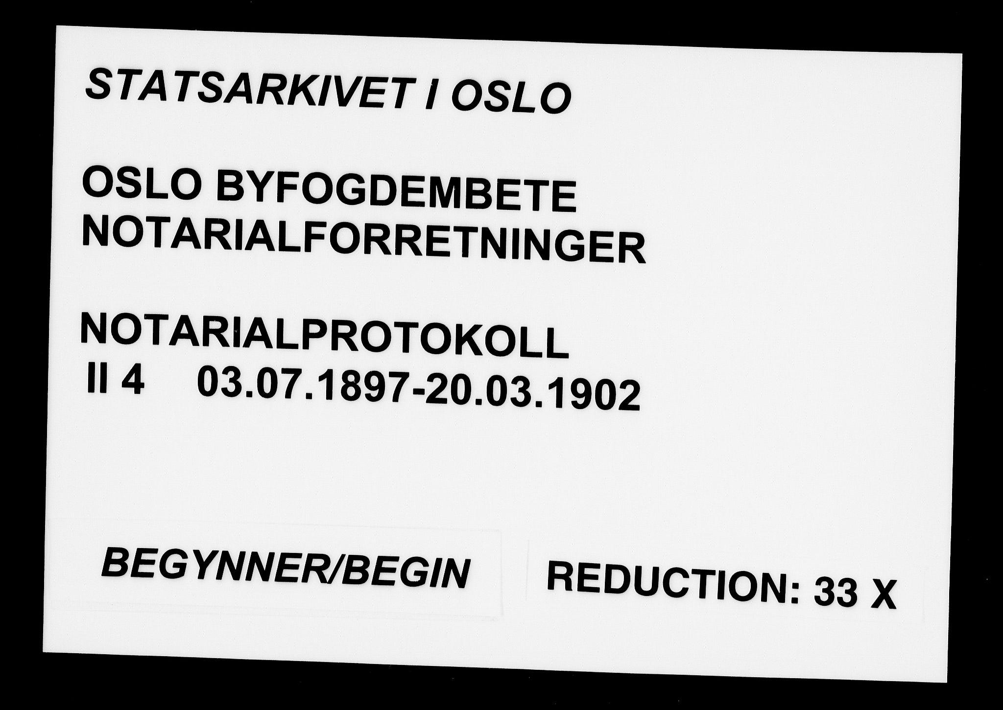 SAO, Oslo byfogd avd. I, L/Lb/Lbb/L0004: Notarialprotokoll, rekke II: Vigsler, 1897-1902, s. upaginert