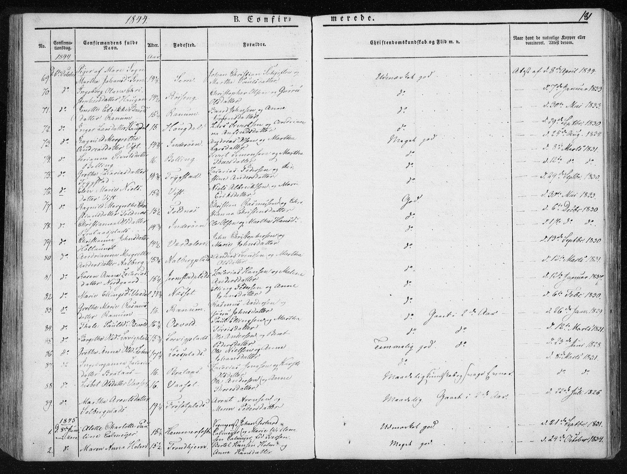 SAT, Ministerialprotokoller, klokkerbøker og fødselsregistre - Nord-Trøndelag, 735/L0339: Ministerialbok nr. 735A06 /1, 1836-1848, s. 181