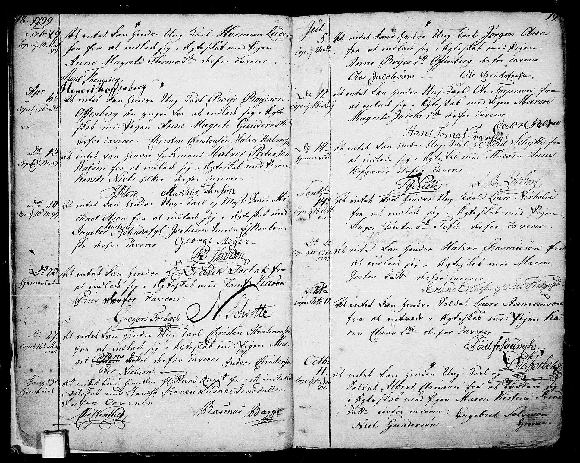 SAKO, Skien kirkebøker, F/Fa/L0004: Ministerialbok nr. 4, 1792-1814, s. 18-19
