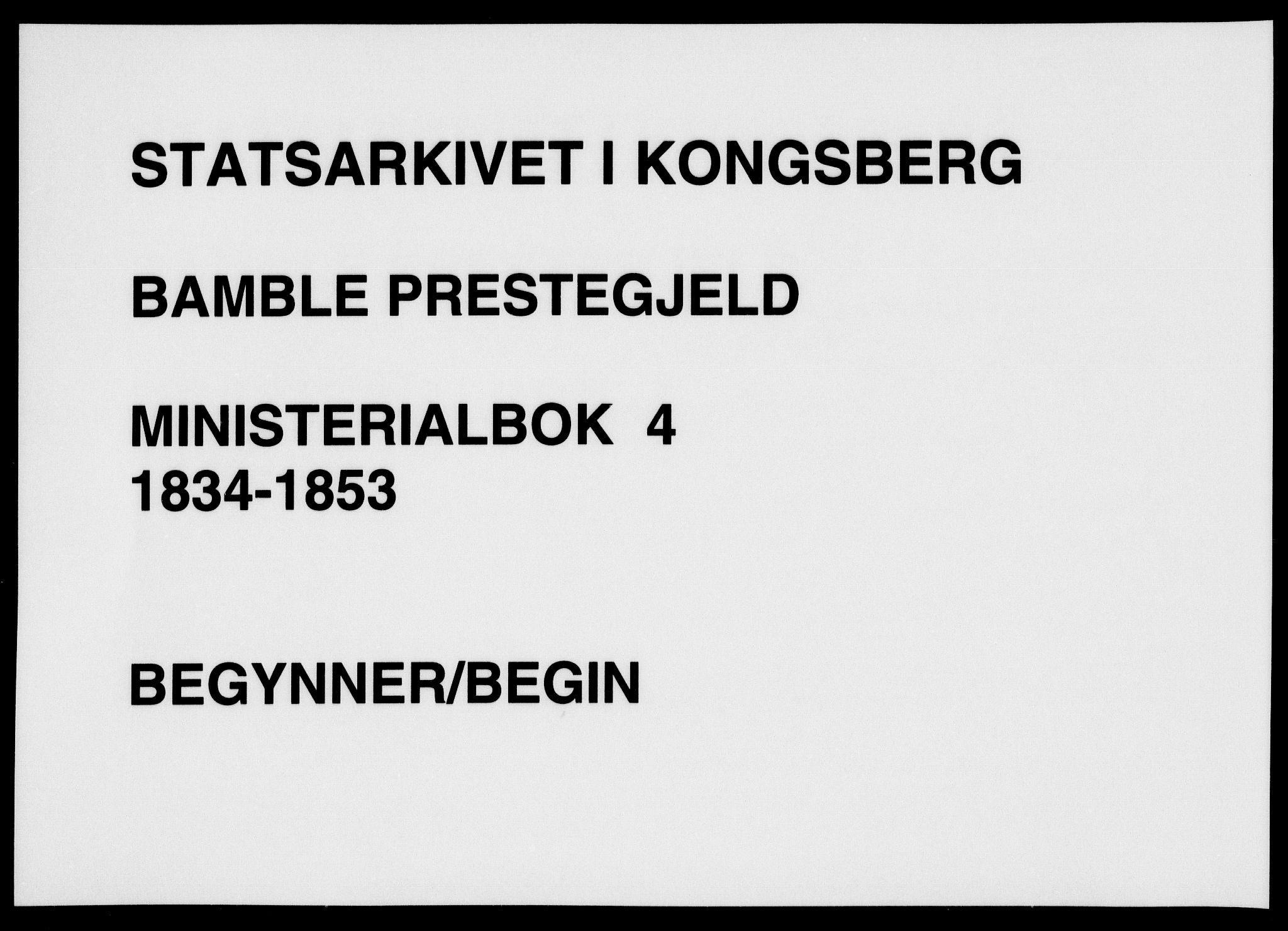 SAKO, Bamble kirkebøker, F/Fa/L0004: Ministerialbok nr. I 4, 1834-1853
