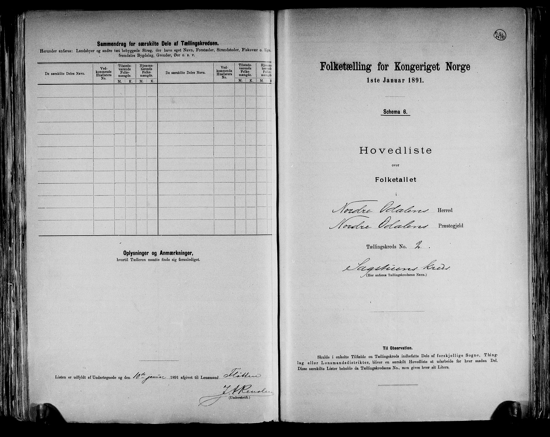 RA, Folketelling 1891 for 0418 Nord-Odal herred, 1891, s. 8