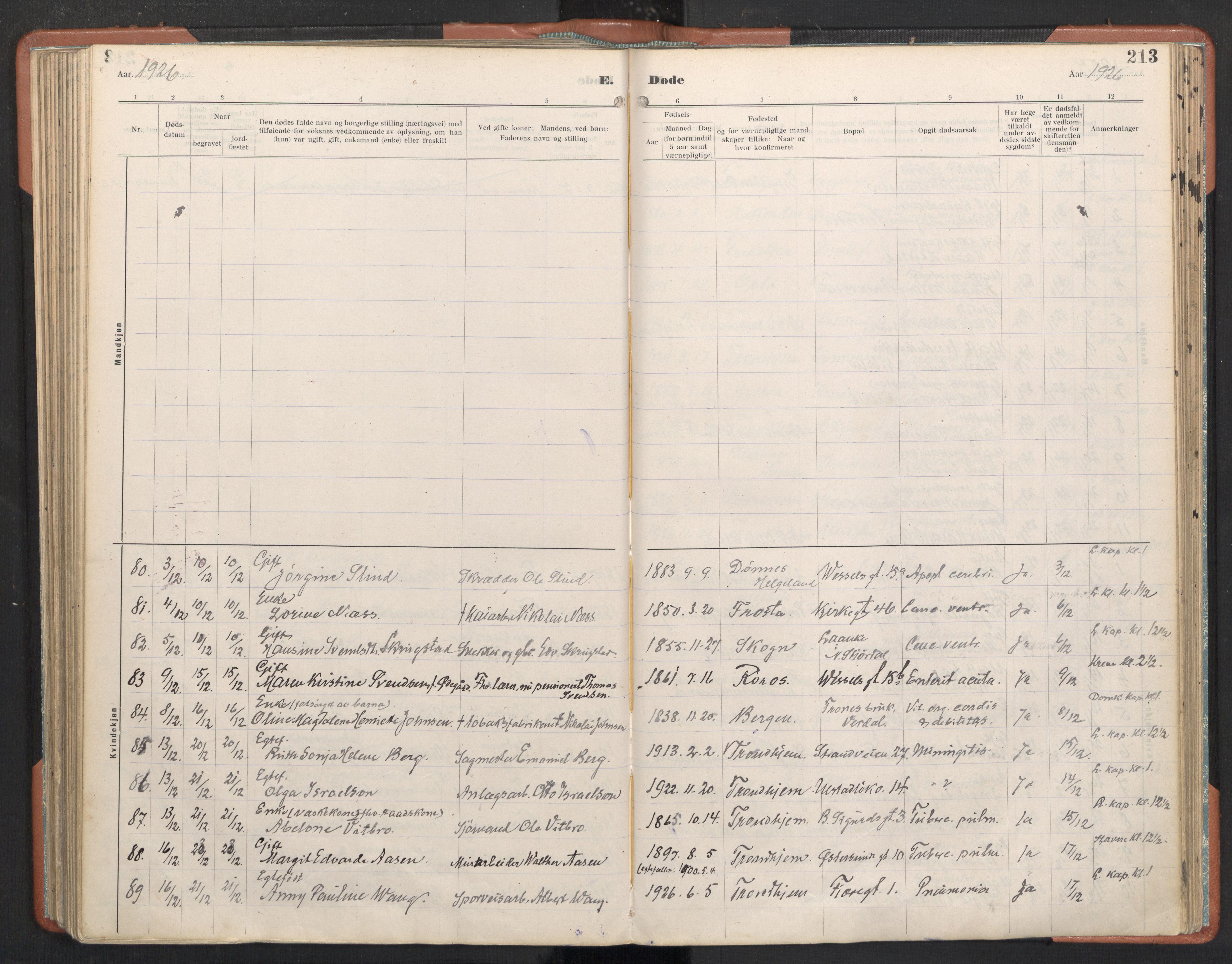 SAT, Ministerialprotokoller, klokkerbøker og fødselsregistre - Sør-Trøndelag, 605/L0245: Ministerialbok nr. 605A07, 1916-1938, s. 213