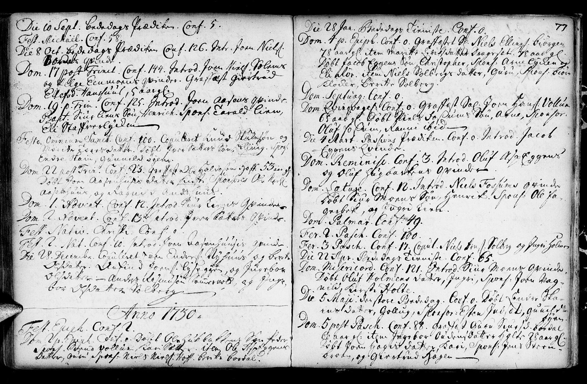 SAT, Ministerialprotokoller, klokkerbøker og fødselsregistre - Sør-Trøndelag, 689/L1036: Ministerialbok nr. 689A01, 1696-1746, s. 77