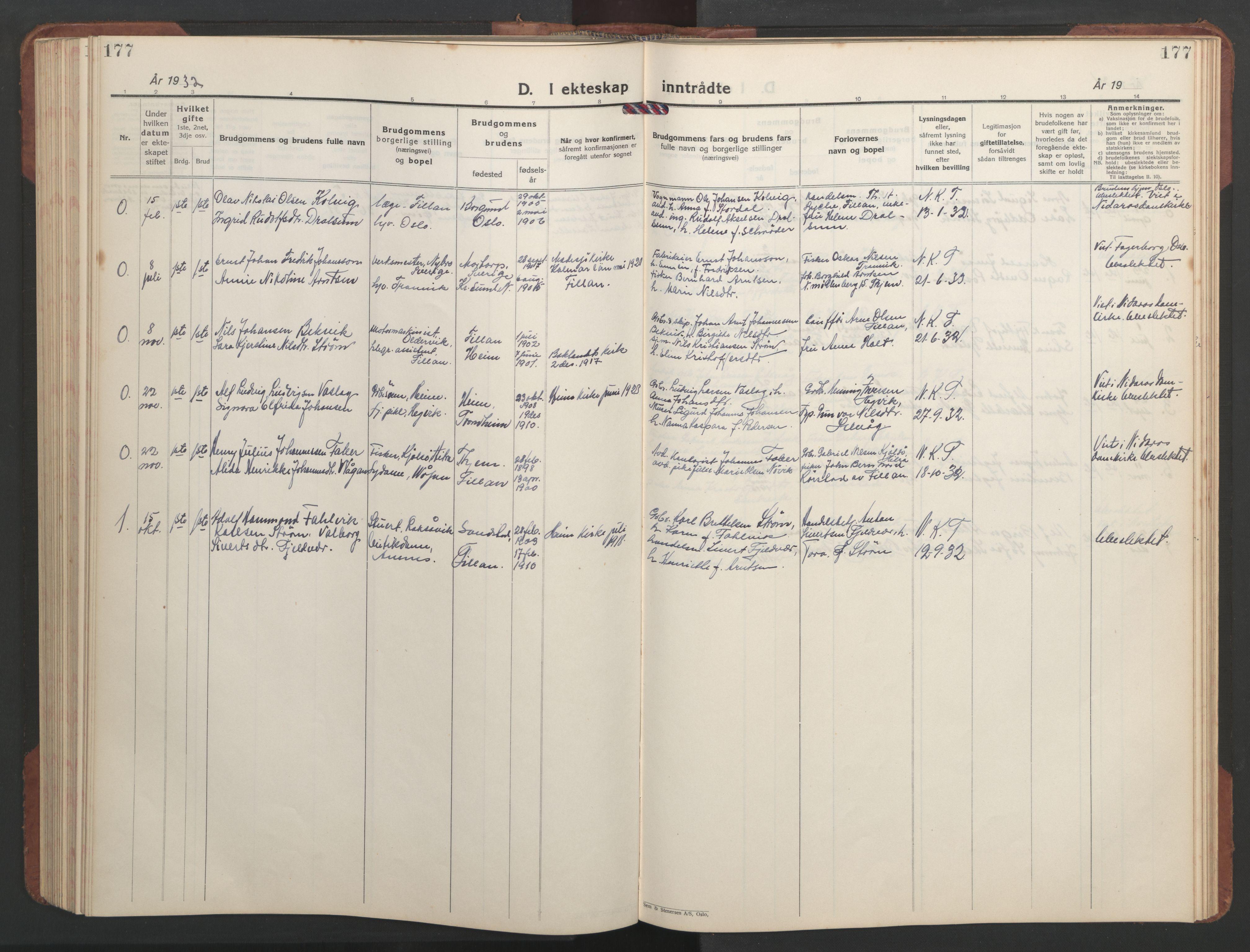 SAT, Ministerialprotokoller, klokkerbøker og fødselsregistre - Sør-Trøndelag, 637/L0564: Klokkerbok nr. 637C05, 1928-1968, s. 177