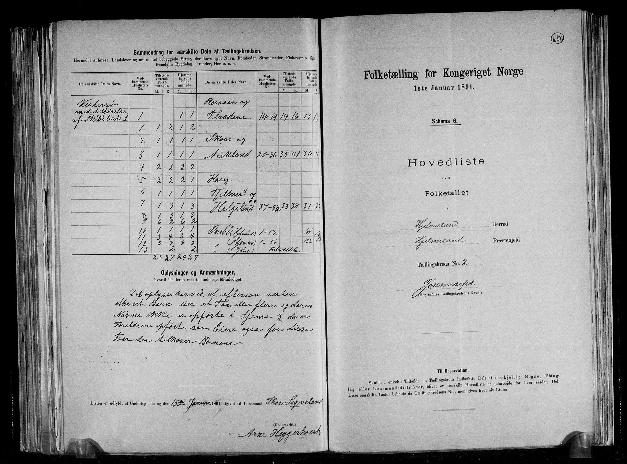RA, Folketelling 1891 for 1133 Hjelmeland herred, 1891, s. 7