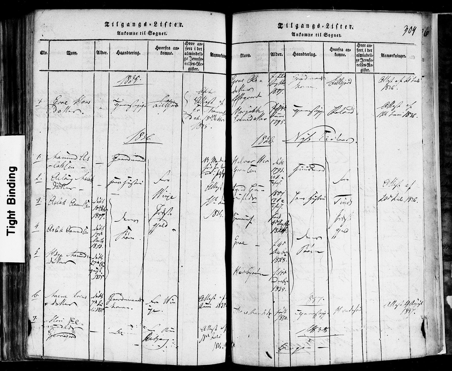 SAKO, Rauland kirkebøker, F/Fa/L0002: Ministerialbok nr. 2, 1815-1860, s. 304