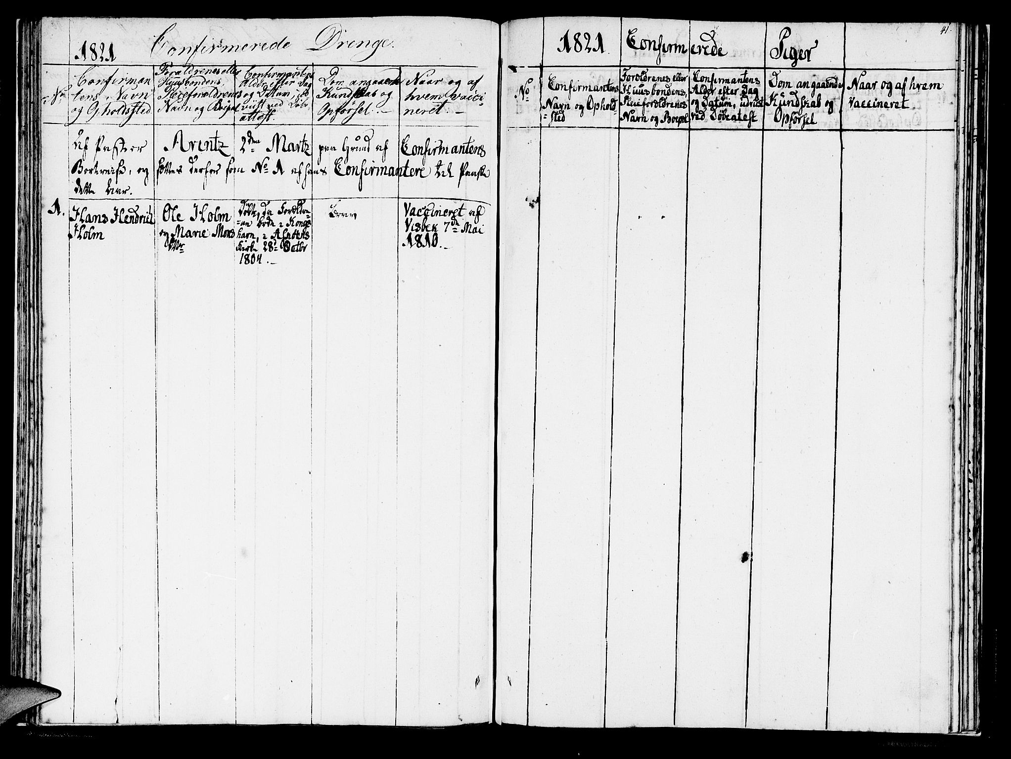 SAB, Domkirken Sokneprestembete, H/Haa/L0011: Ministerialbok nr. A 11, 1820-1821, s. 41