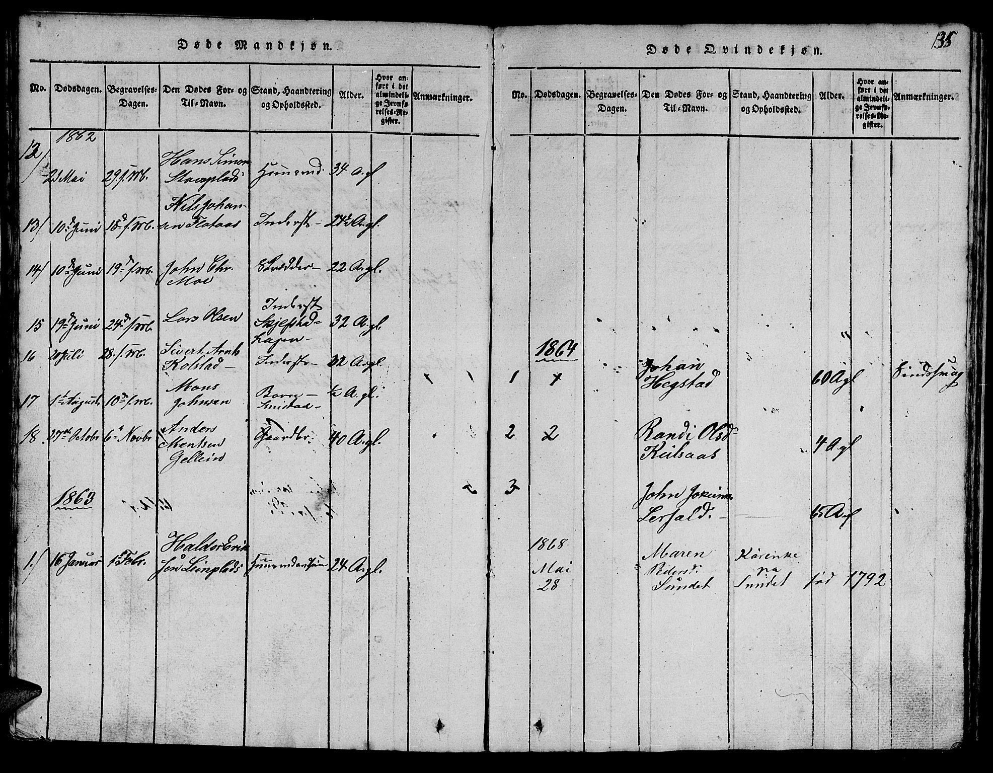 SAT, Ministerialprotokoller, klokkerbøker og fødselsregistre - Sør-Trøndelag, 613/L0393: Klokkerbok nr. 613C01, 1816-1886, s. 135