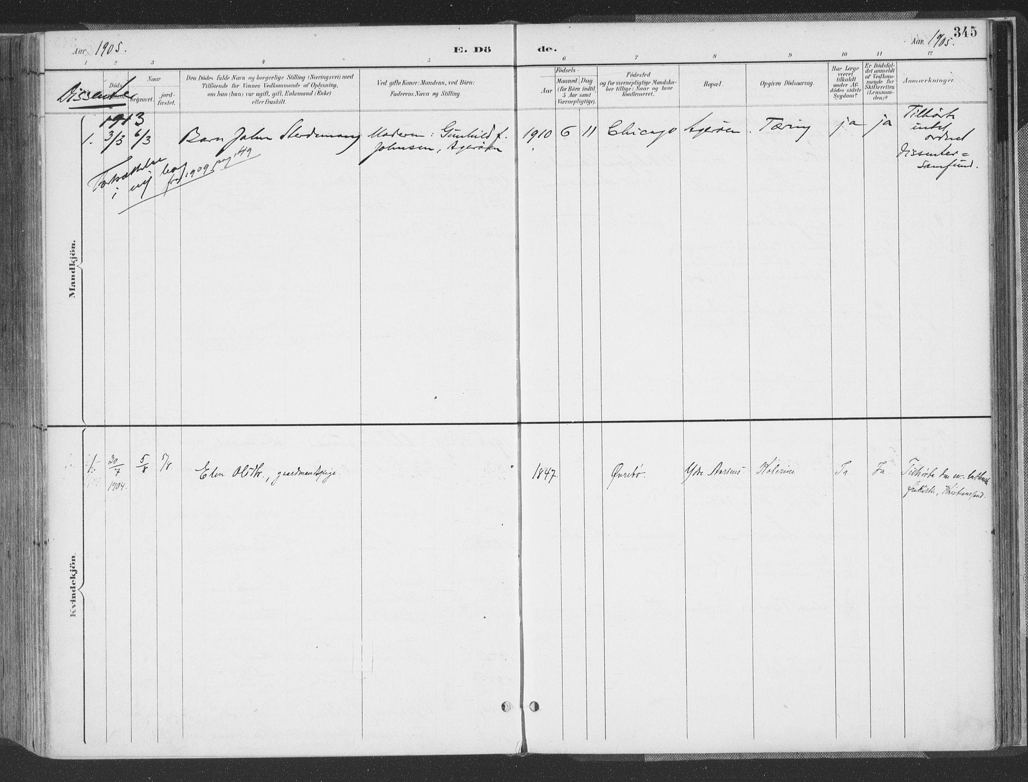 SAK, Høvåg sokneprestkontor, F/Fa/L0006: Ministerialbok nr. A 6, 1894-1923, s. 345