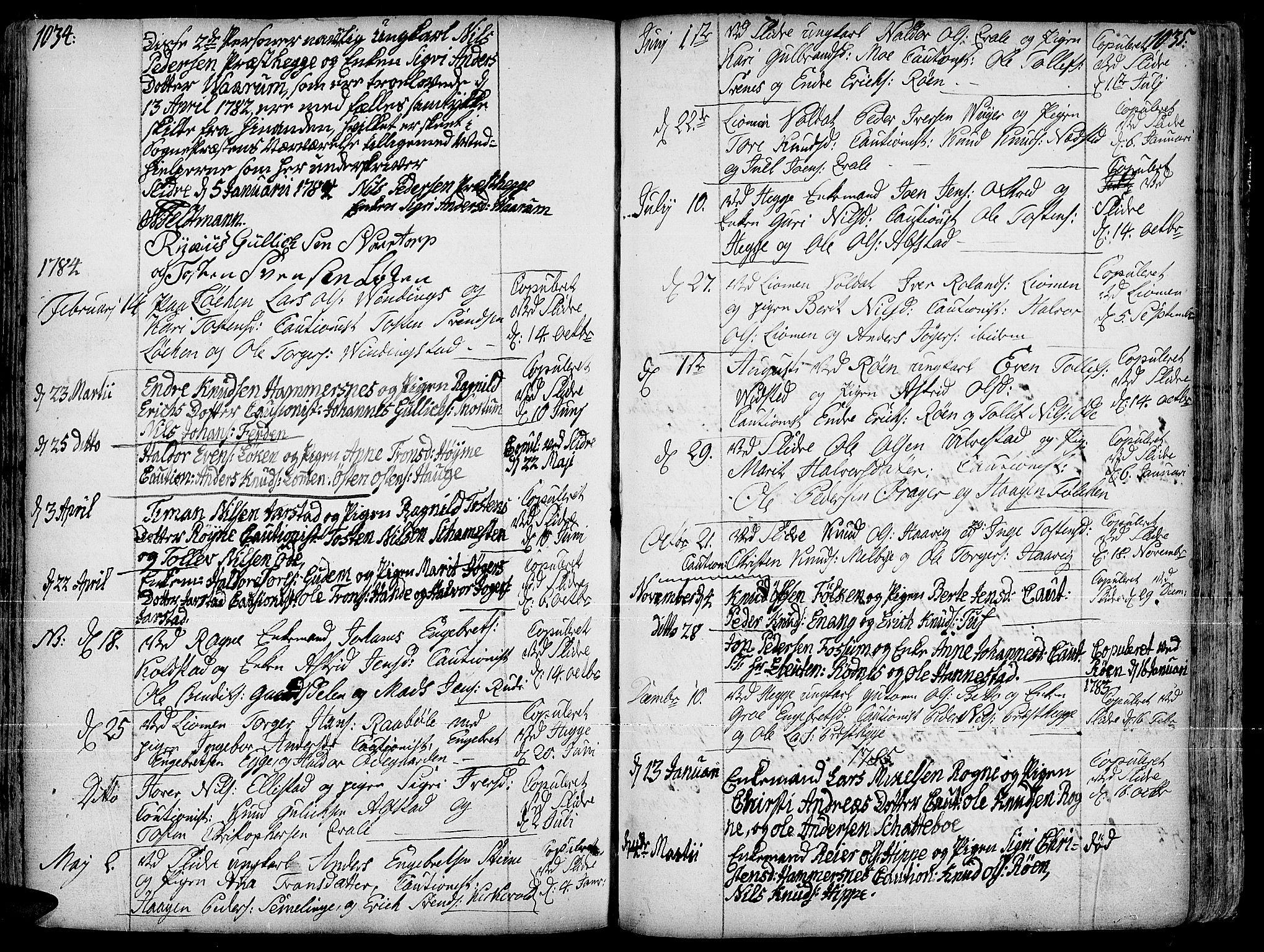 SAH, Slidre prestekontor, Ministerialbok nr. 1, 1724-1814, s. 1034-1035