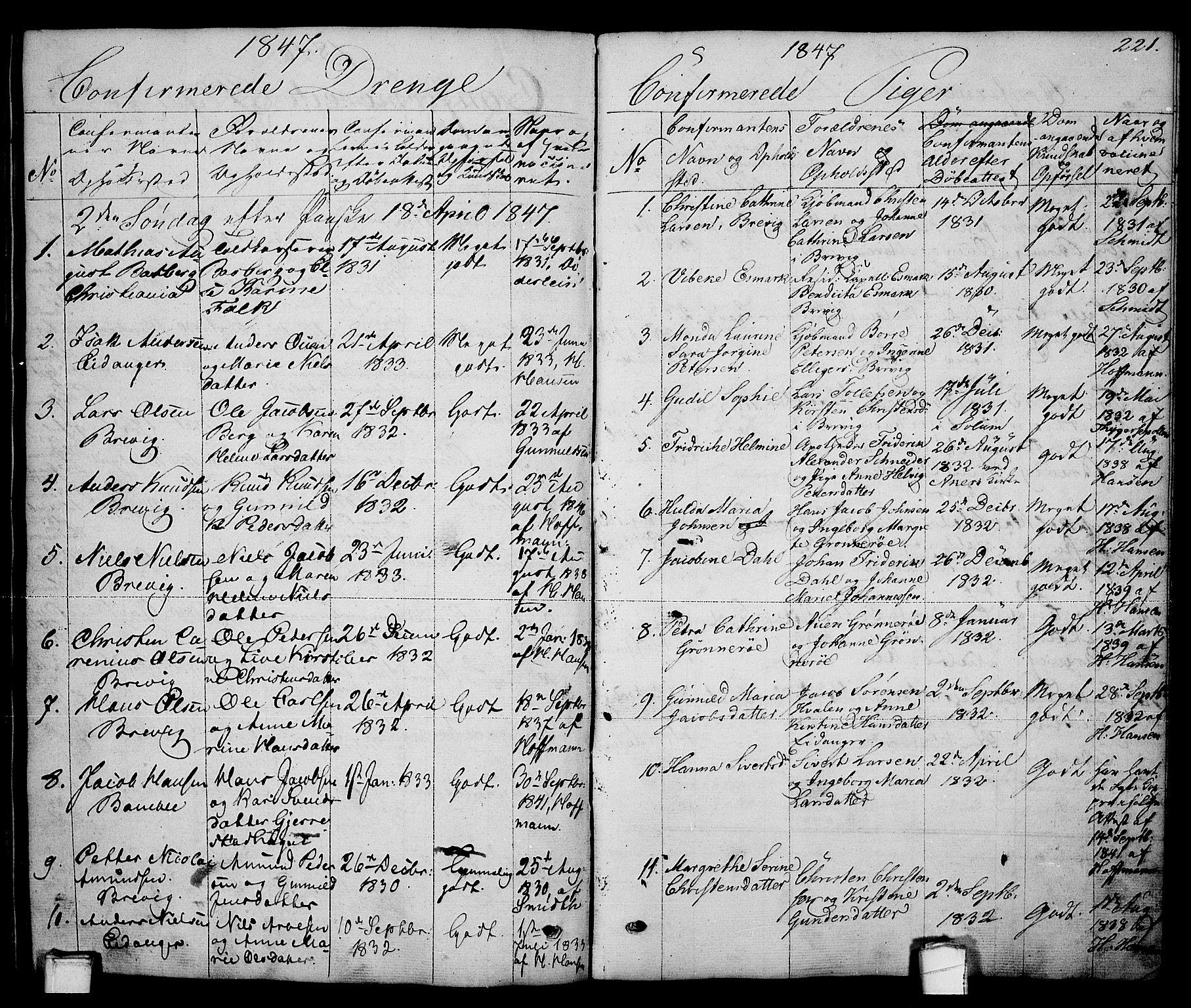 SAKO, Brevik kirkebøker, G/Ga/L0002: Klokkerbok nr. 2, 1846-1865, s. 221