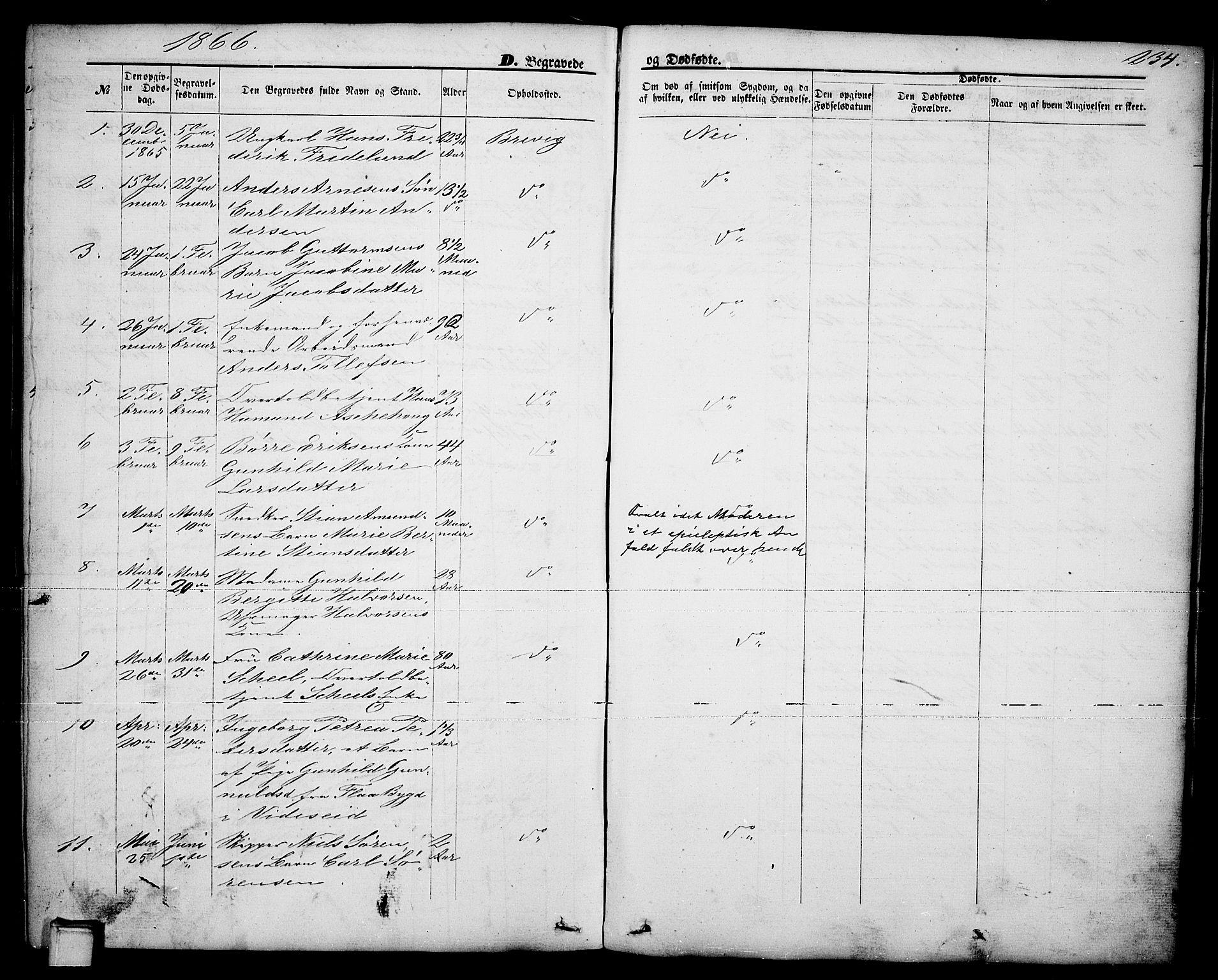 SAKO, Brevik kirkebøker, G/Ga/L0003: Klokkerbok nr. 3, 1866-1881, s. 234