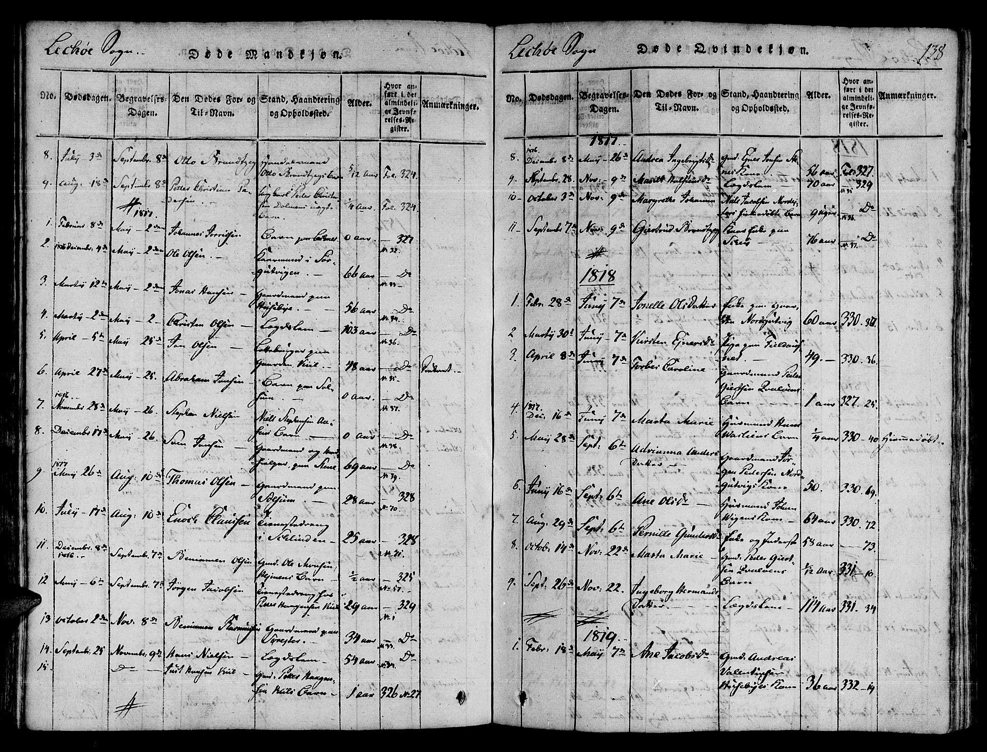 SAT, Ministerialprotokoller, klokkerbøker og fødselsregistre - Nord-Trøndelag, 780/L0636: Ministerialbok nr. 780A03 /2, 1815-1829, s. 138