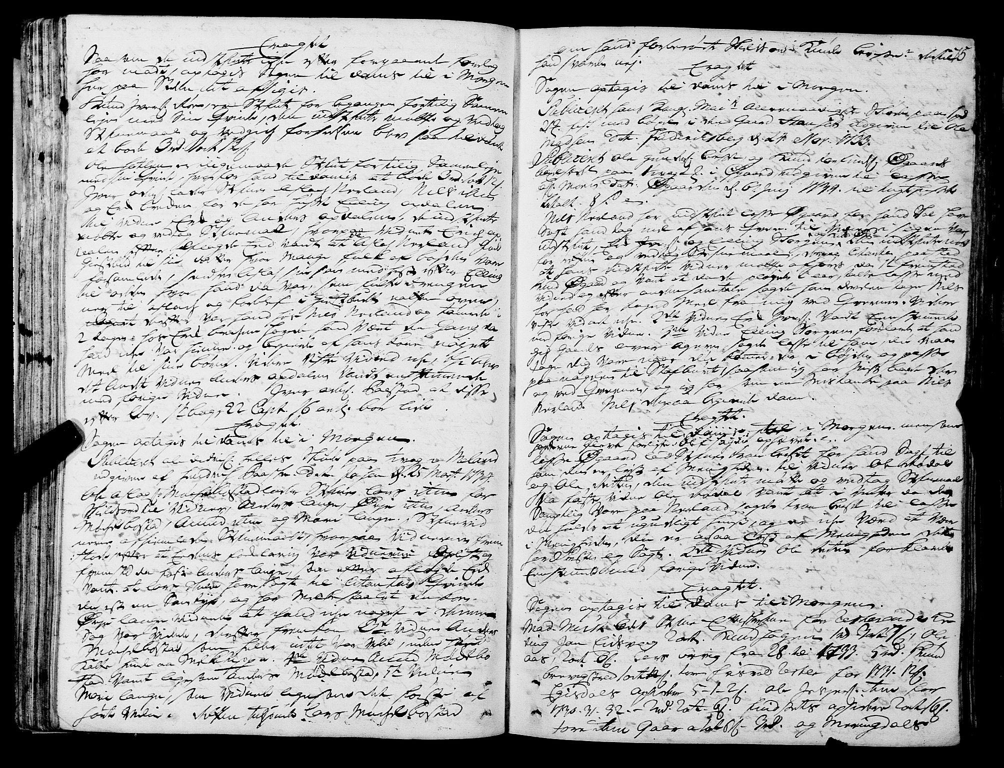 SAT, Romsdal sorenskriveri, 1/1A/L0011: Tingbok, 1732-1740, s. 74b-75a