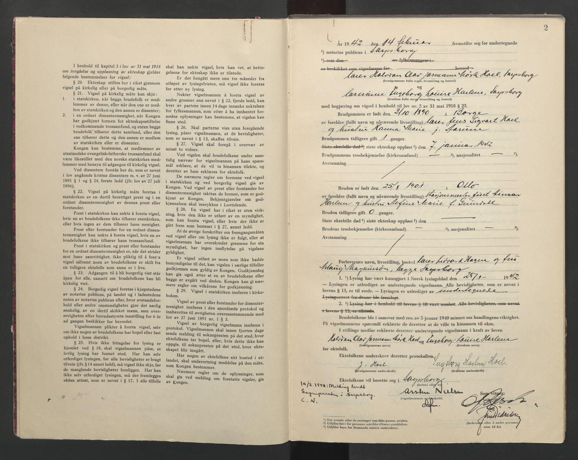 SAO, Sarpsborg byfogd, L/Lb/Lba/L0002: Vigselbok, 1942-1943, s. 2