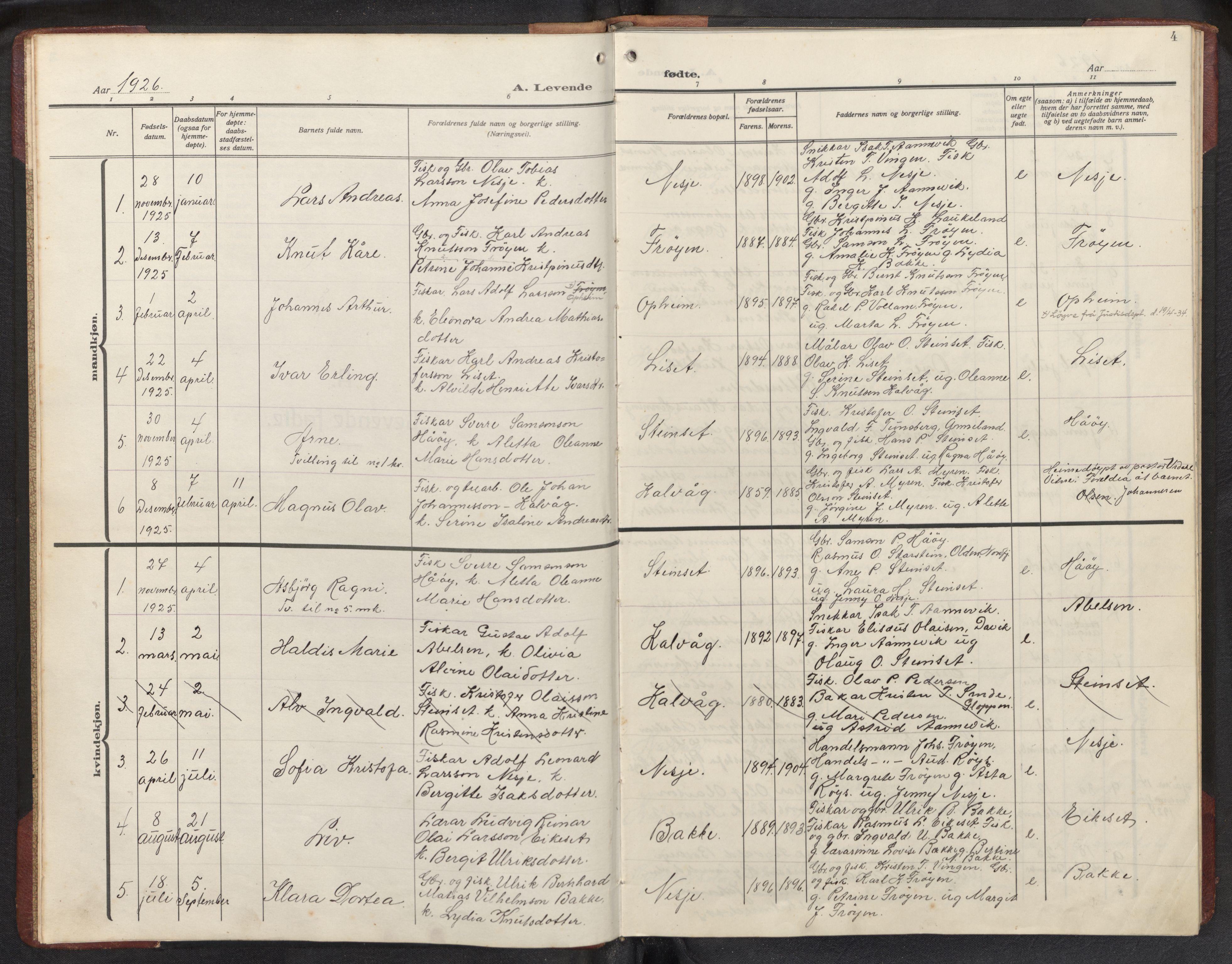 SAB, Bremanger Sokneprestembete, H/Hab: Klokkerbok nr. B 2, 1926-1945, s. 3b-4a