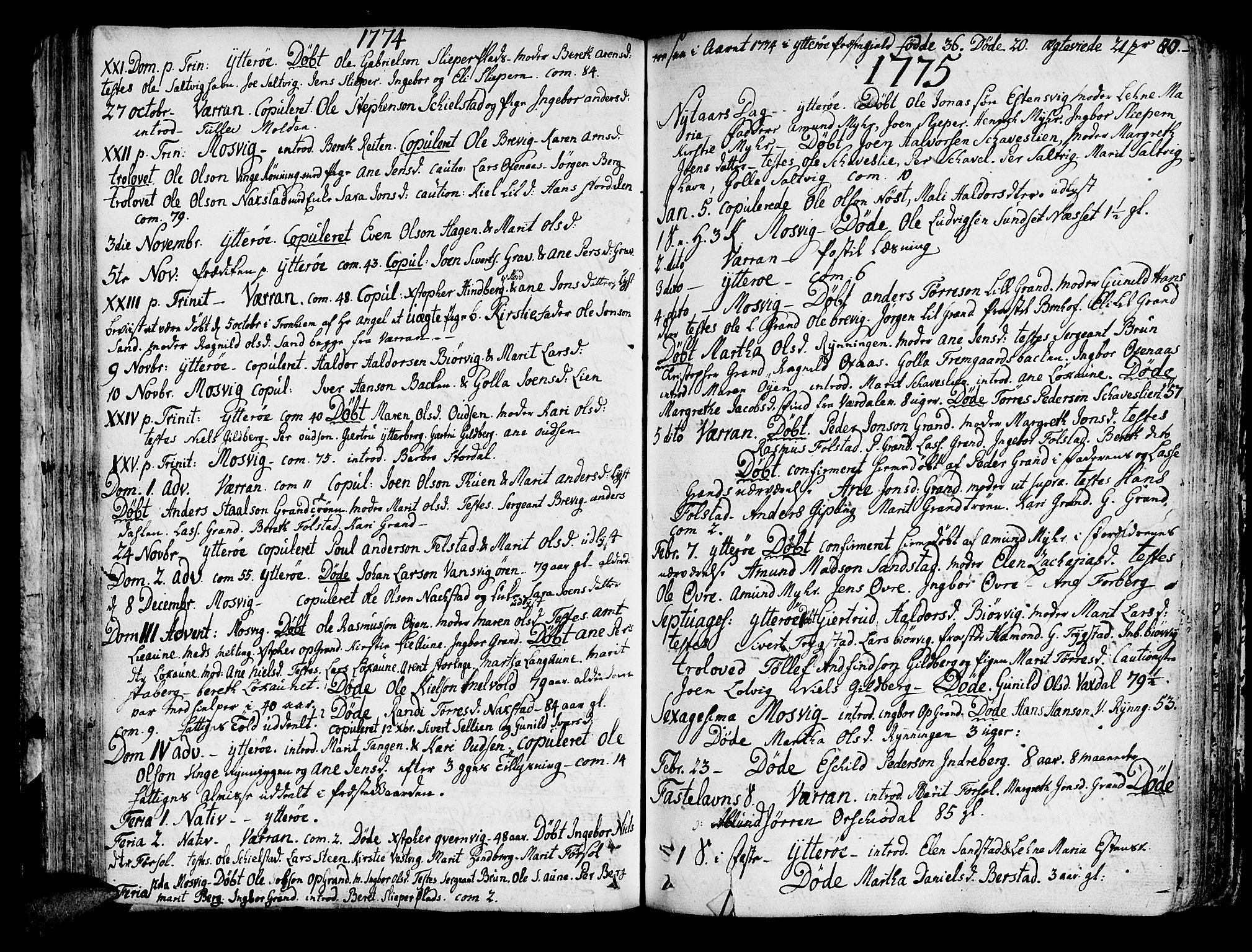SAT, Ministerialprotokoller, klokkerbøker og fødselsregistre - Nord-Trøndelag, 722/L0216: Ministerialbok nr. 722A03, 1756-1816, s. 80