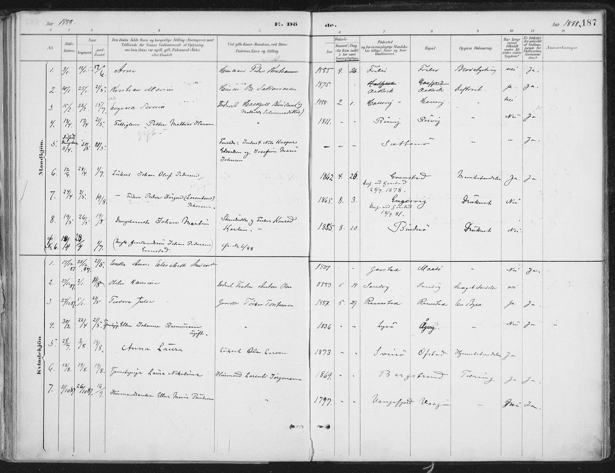 SAT, Ministerialprotokoller, klokkerbøker og fødselsregistre - Nord-Trøndelag, 786/L0687: Ministerialbok nr. 786A03, 1888-1898, s. 187