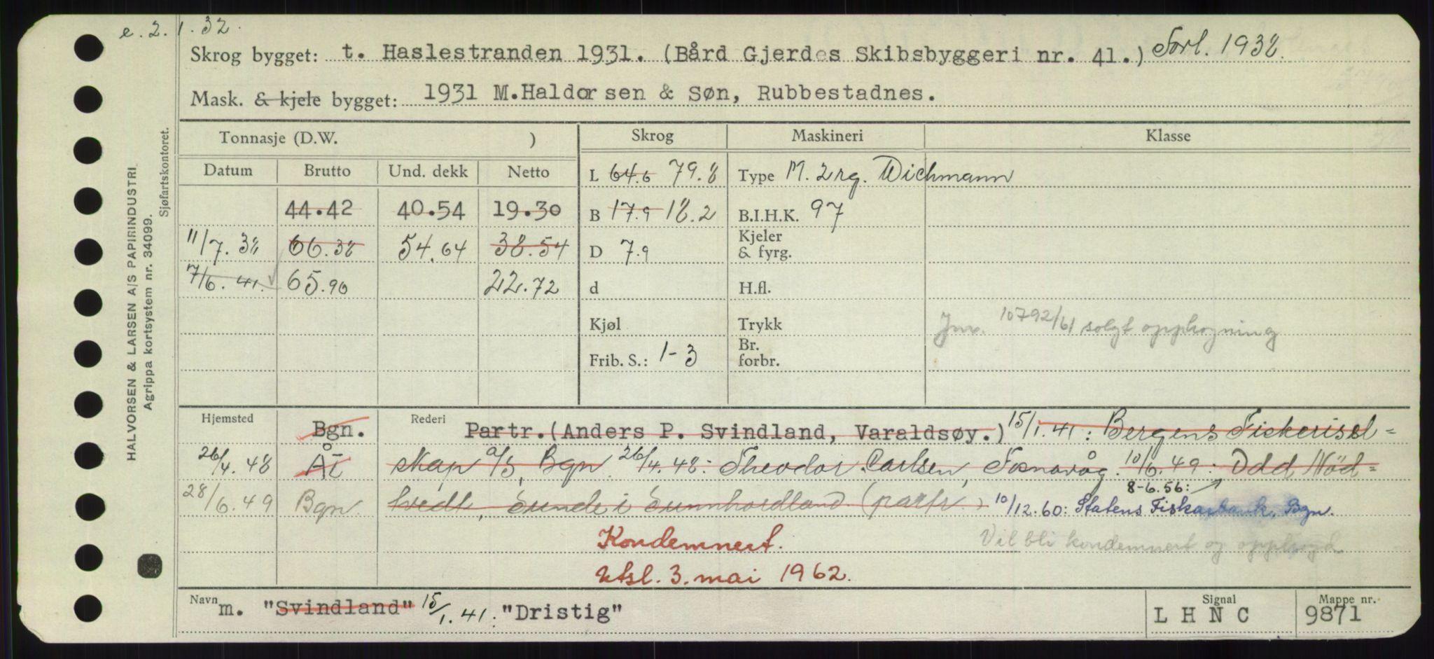 RA, Sjøfartsdirektoratet med forløpere, Skipsmålingen, H/Hd/L0008: Fartøy, C-D, s. 641