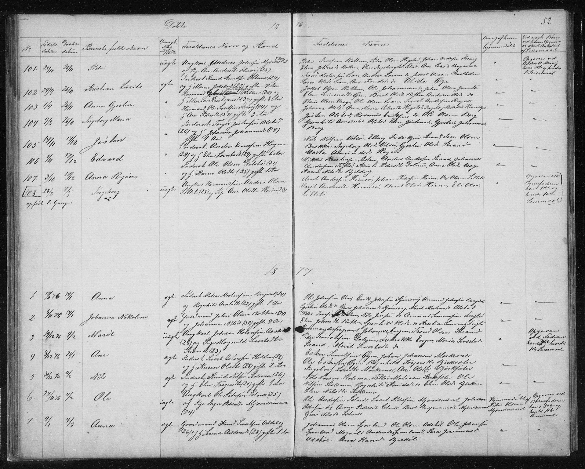 SAT, Ministerialprotokoller, klokkerbøker og fødselsregistre - Sør-Trøndelag, 630/L0503: Klokkerbok nr. 630C01, 1869-1878, s. 52