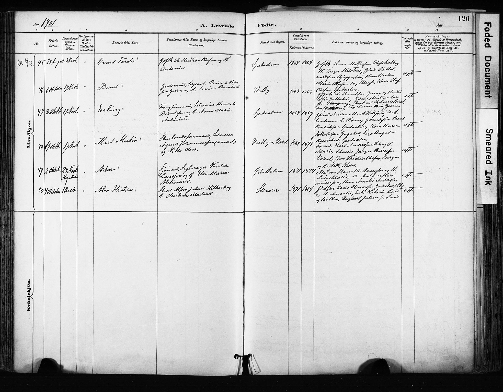 SAKO, Tjølling kirkebøker, F/Fa/L0009: Ministerialbok nr. 9, 1887-1905, s. 126