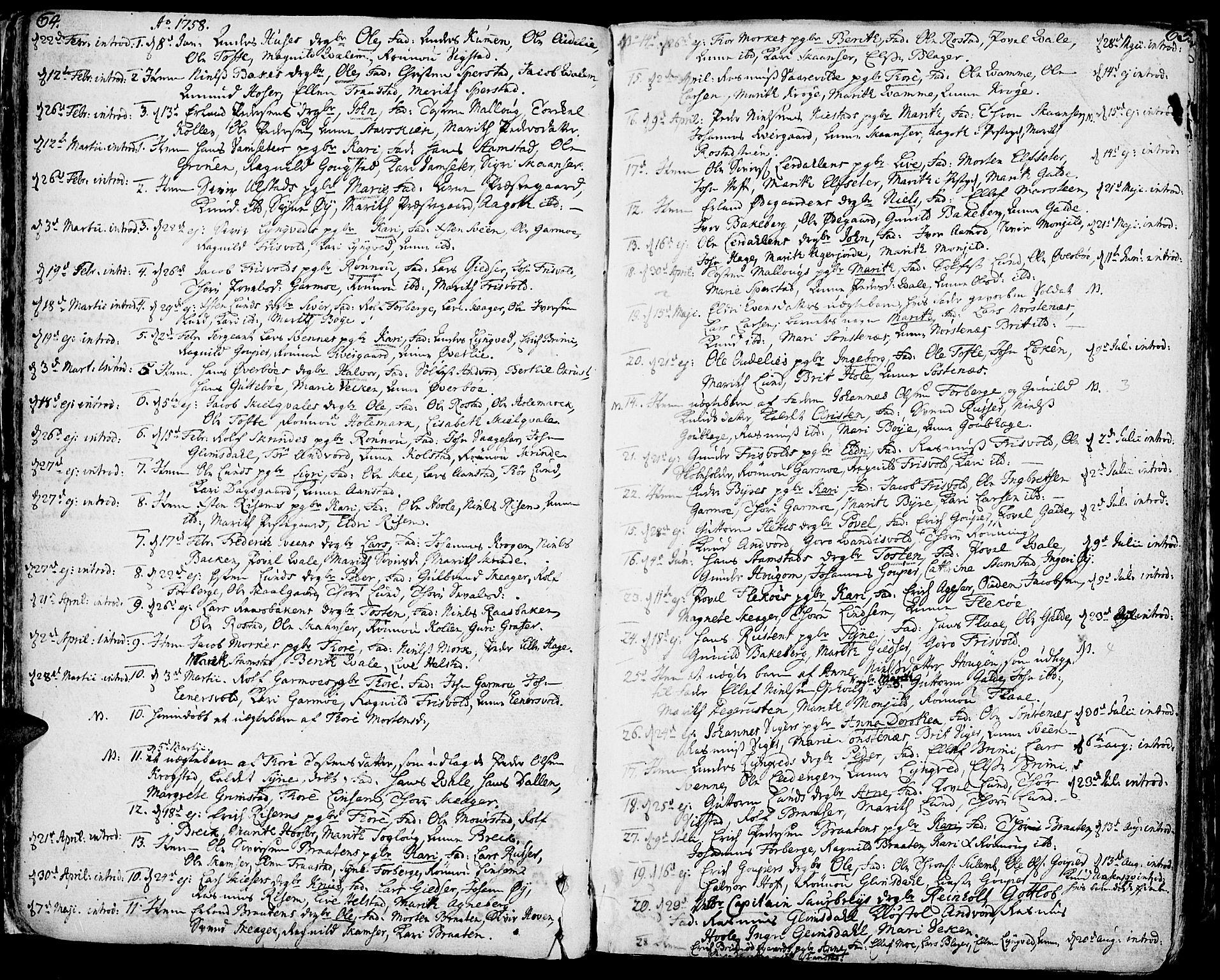 SAH, Lom prestekontor, K/L0002: Ministerialbok nr. 2, 1749-1801, s. 64-65