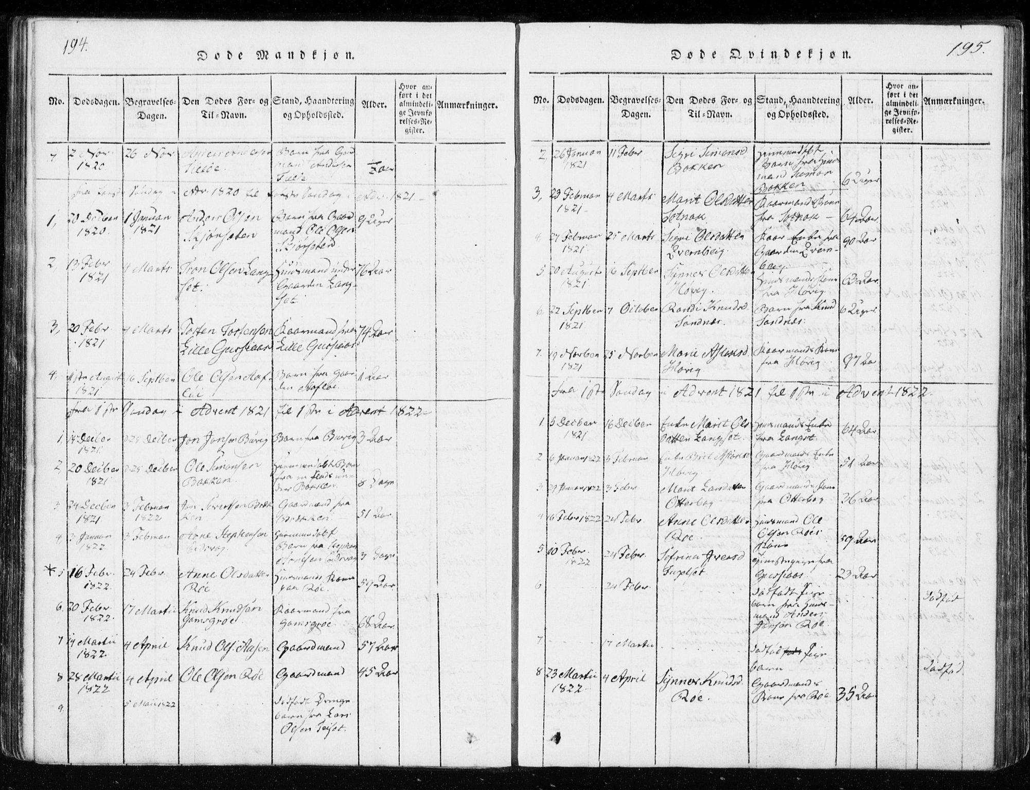 SAT, Ministerialprotokoller, klokkerbøker og fødselsregistre - Møre og Romsdal, 551/L0623: Ministerialbok nr. 551A03, 1818-1831, s. 194-195