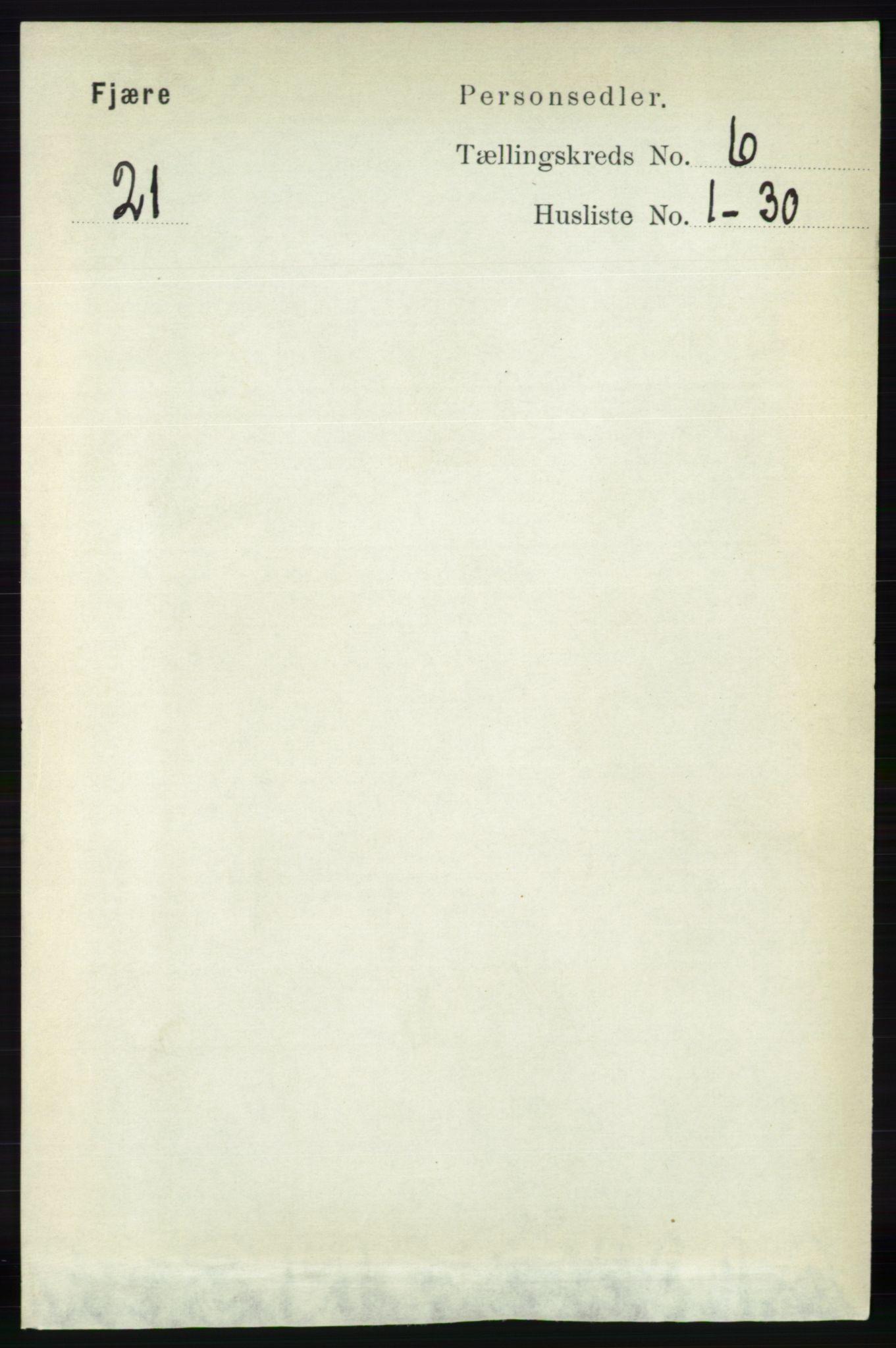 RA, Folketelling 1891 for 0923 Fjære herred, 1891, s. 2958