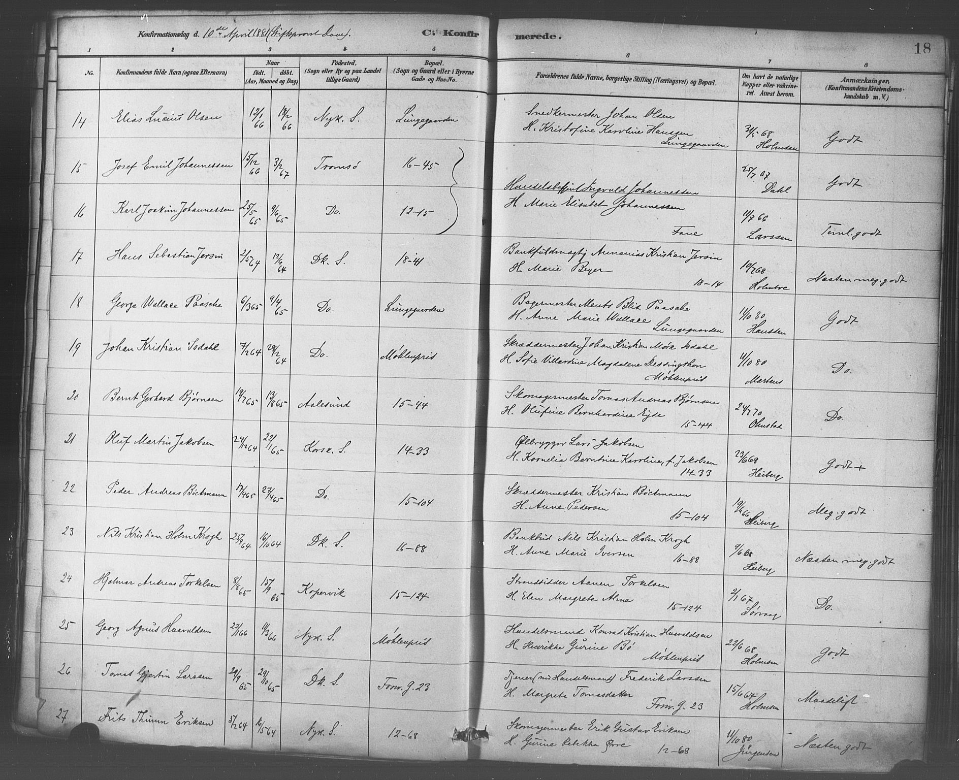 SAB, Domkirken Sokneprestembete, H/Haa/L0030: Ministerialbok nr. C 5, 1880-1898, s. 18