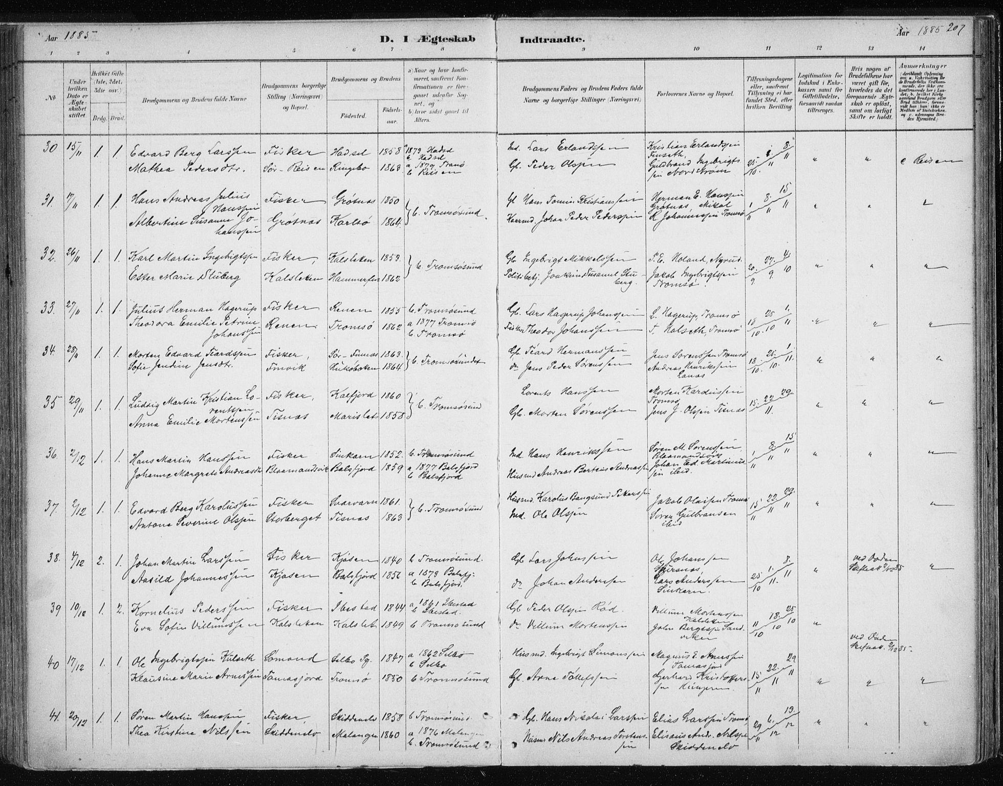 SATØ, Tromsøysund sokneprestkontor, G/Ga/L0004kirke: Ministerialbok nr. 4, 1880-1888, s. 207