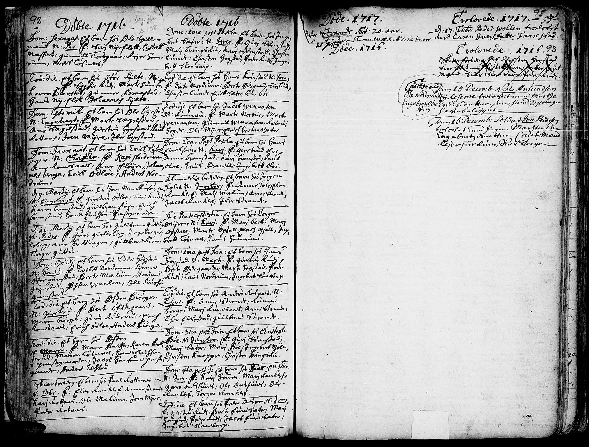 SAH, Ringebu prestekontor, Ministerialbok nr. 1, 1696-1733, s. 92-93