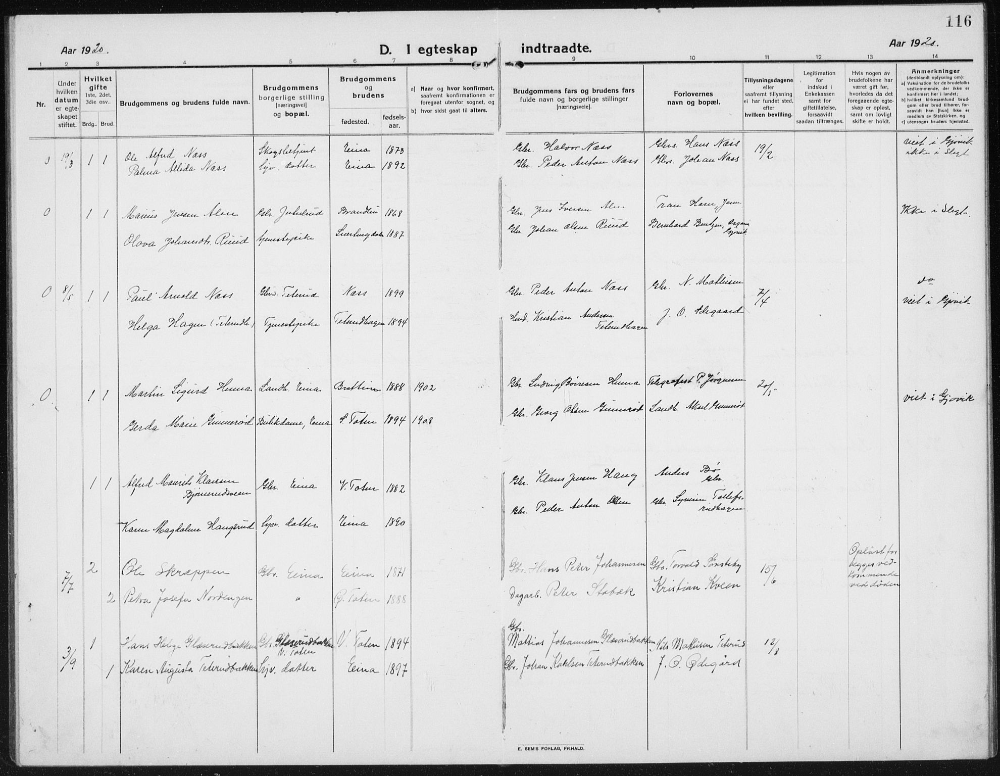 SAH, Kolbu prestekontor, Klokkerbok nr. 6, 1916-1934, s. 116