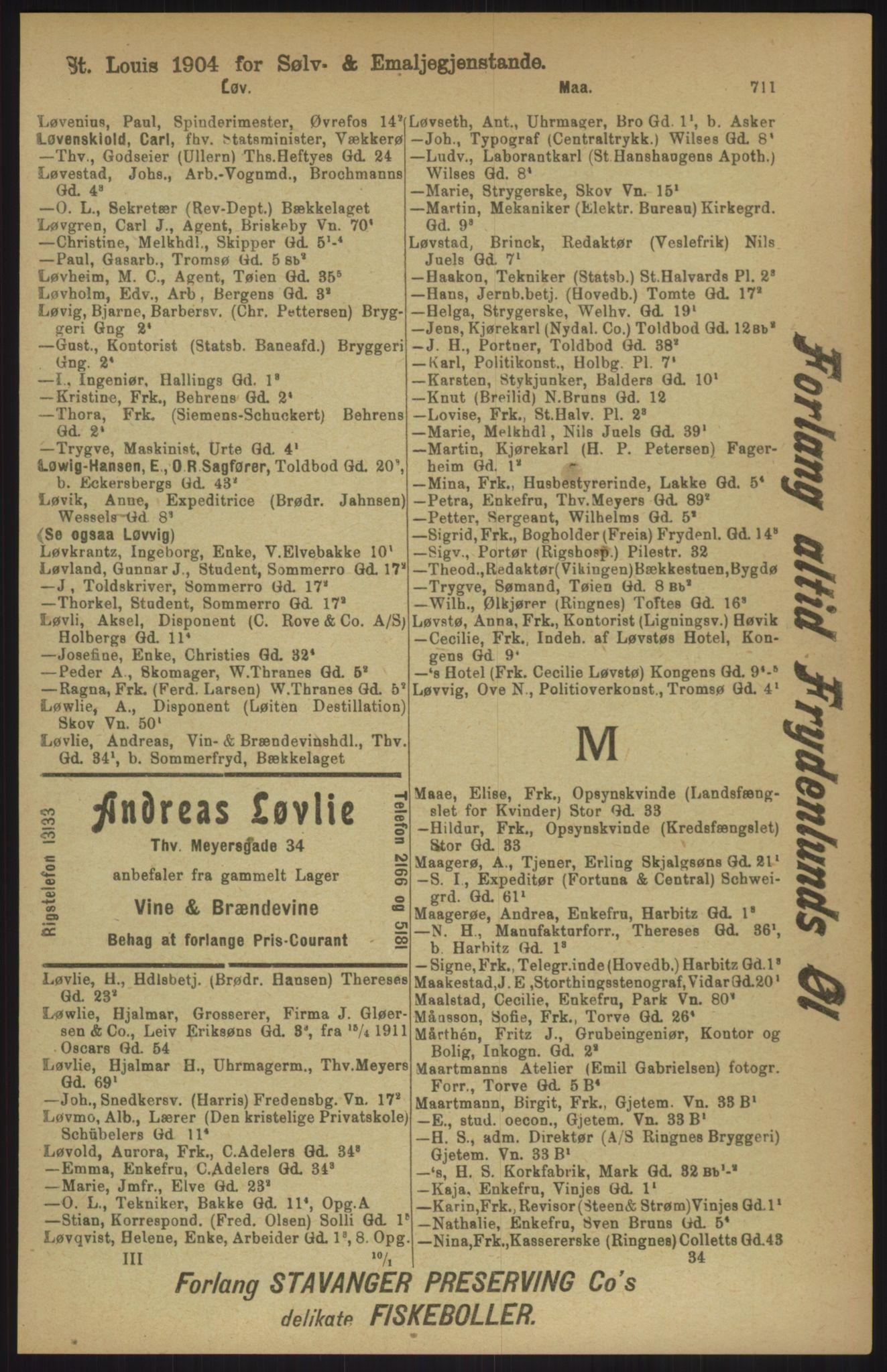 RA, Kristiania adressebok (publikasjon)*, 1911, s. 711