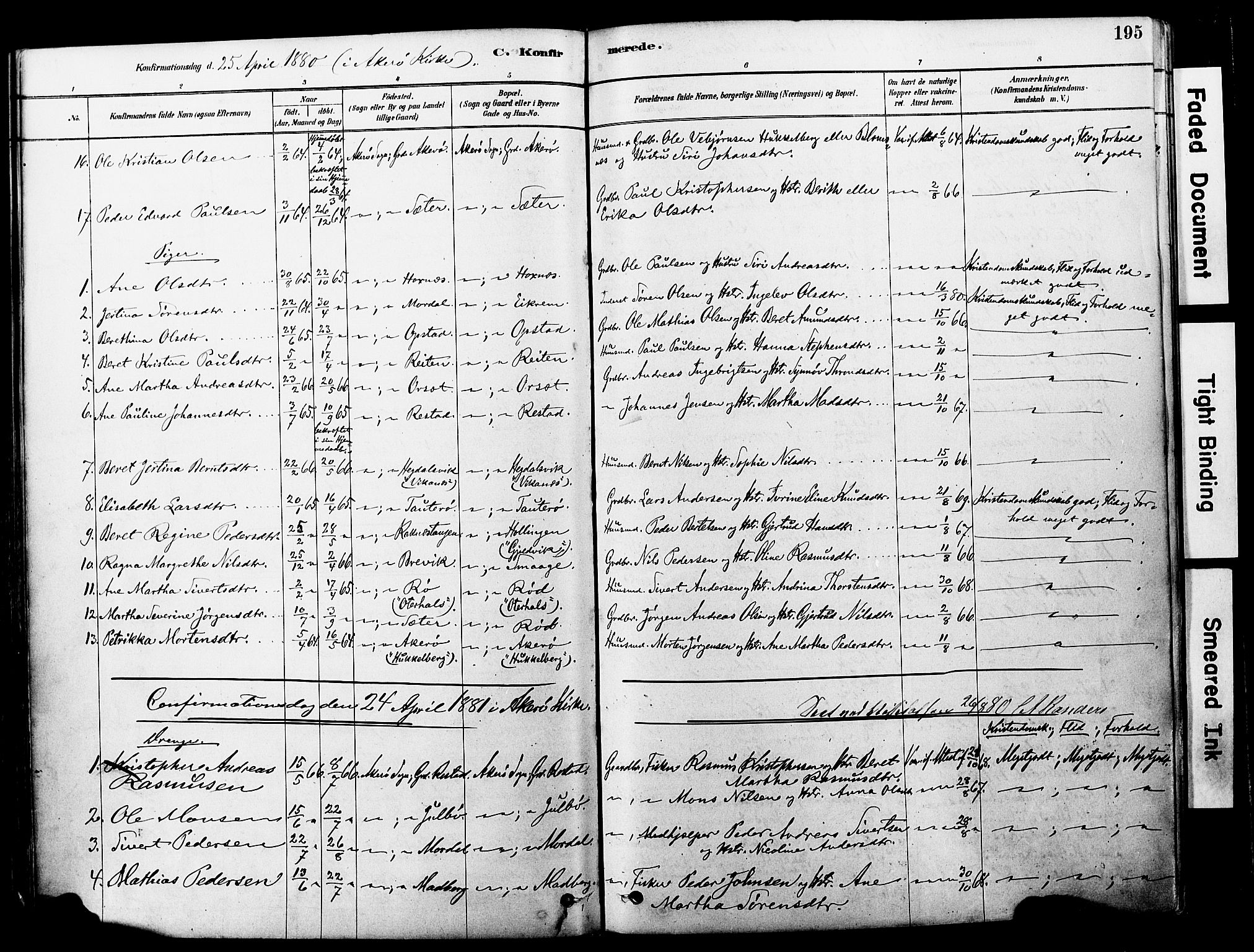 SAT, Ministerialprotokoller, klokkerbøker og fødselsregistre - Møre og Romsdal, 560/L0721: Ministerialbok nr. 560A05, 1878-1917, s. 195
