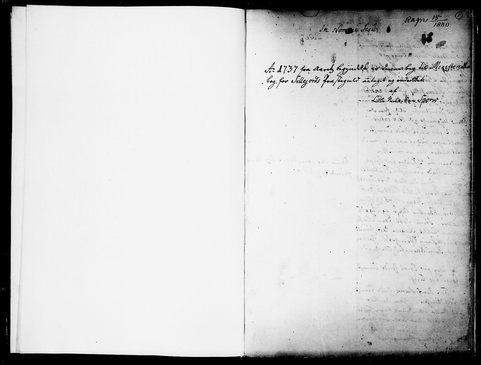 SAKO, Seljord kirkebøker, F/Fa/L0005: Ministerialbok nr. I 5, 1737-1743, s. 1