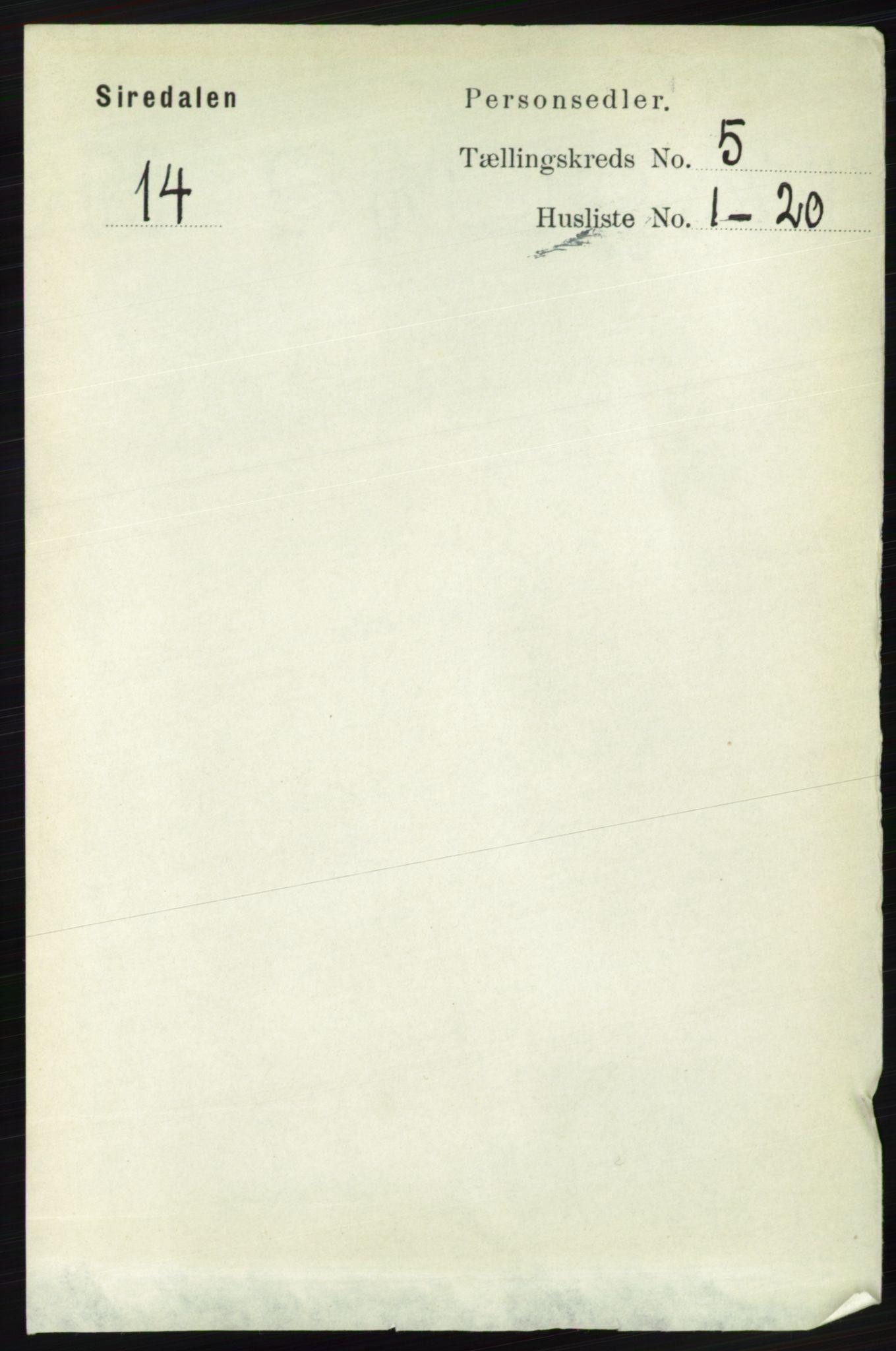 RA, Folketelling 1891 for 1046 Sirdal herred, 1891, s. 1303