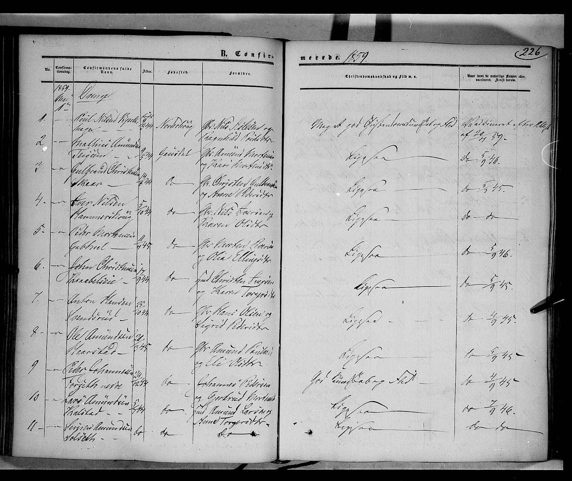 SAH, Gausdal prestekontor, Ministerialbok nr. 8, 1850-1861, s. 226