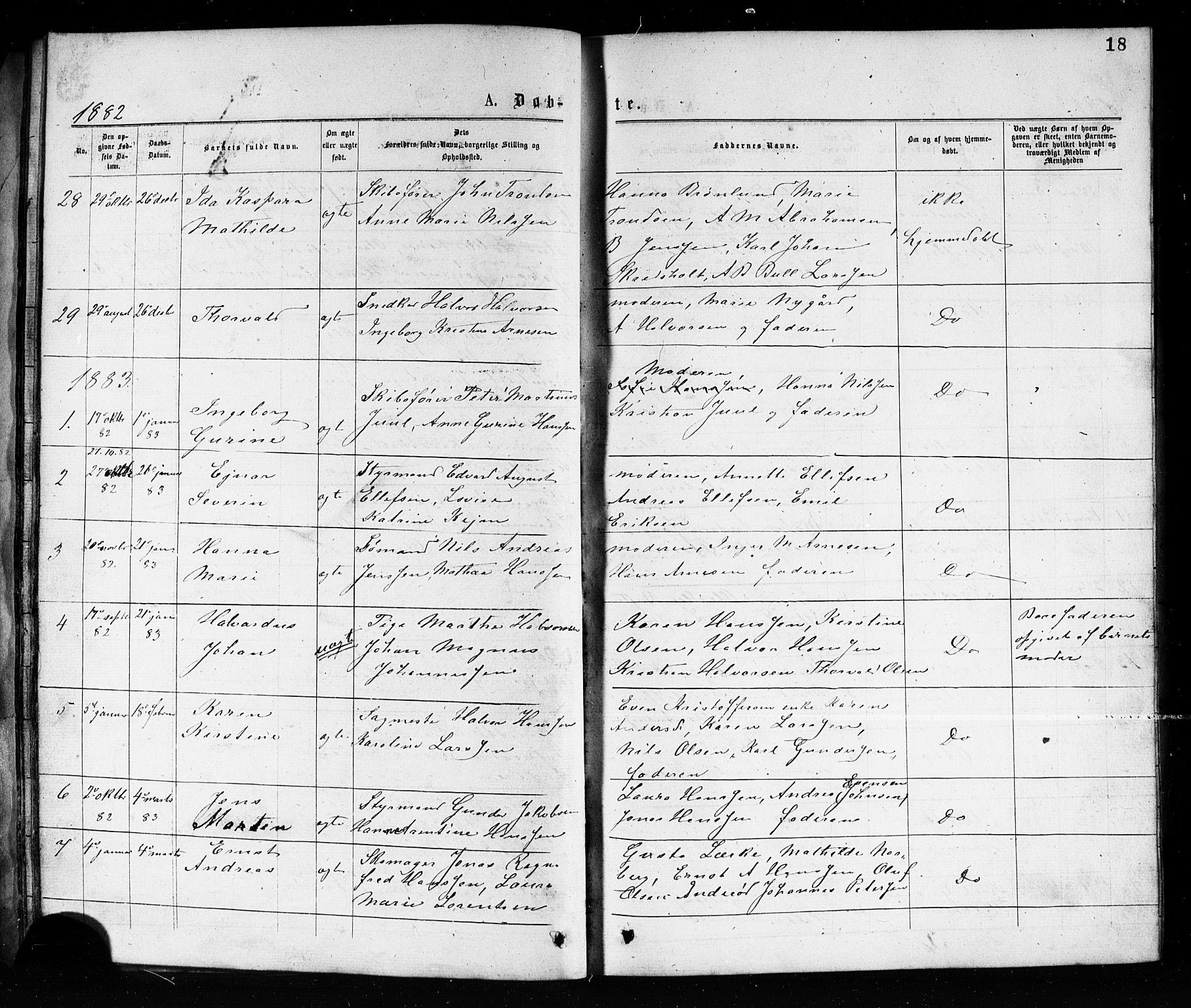 SAKO, Porsgrunn kirkebøker , G/Ga/L0003: Klokkerbok nr. I 3, 1877-1915, s. 18