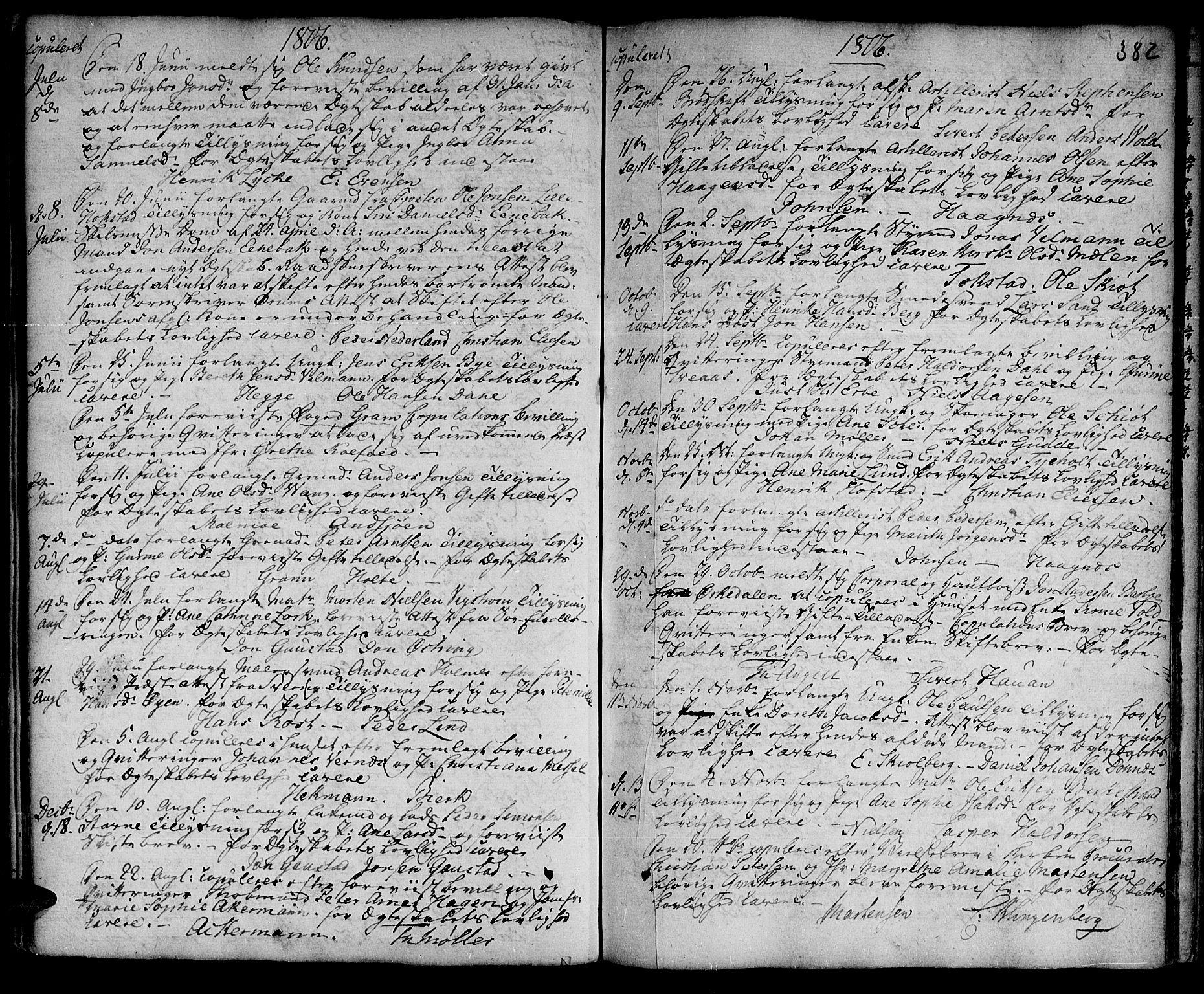 SAT, Ministerialprotokoller, klokkerbøker og fødselsregistre - Sør-Trøndelag, 601/L0038: Ministerialbok nr. 601A06, 1766-1877, s. 382